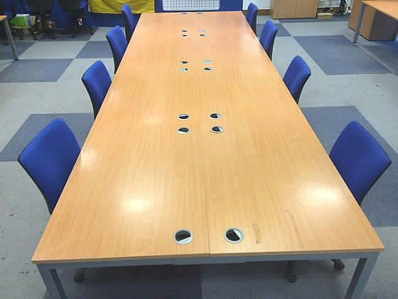 Further image of the beech bench desks.