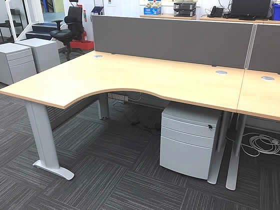 1600mm Smart corner office desks with cable trays and modesty panels included.
