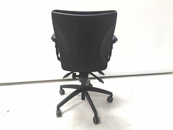 Further view of the black fabric operators chairs shown in the previous image.