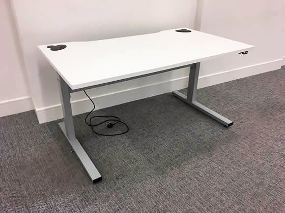 Used 1400mm White Electric Sit/Stand Office Desks with cable trays and Linak Motors