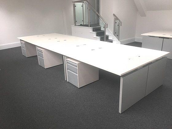 1600mm Off-White Bene Office Desks including 1 Bene Pedestal Per Desk position