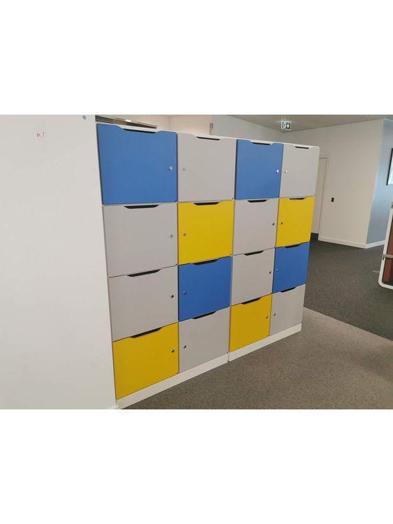 8-locker units with coloured doors