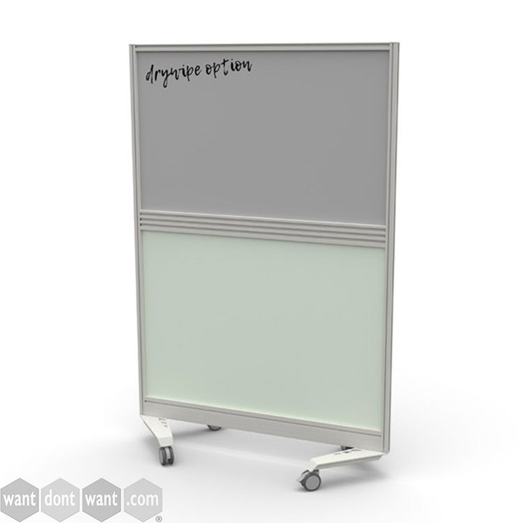 Mobile Screens with drywipe top panel, centre tool rail and perspex lower panel