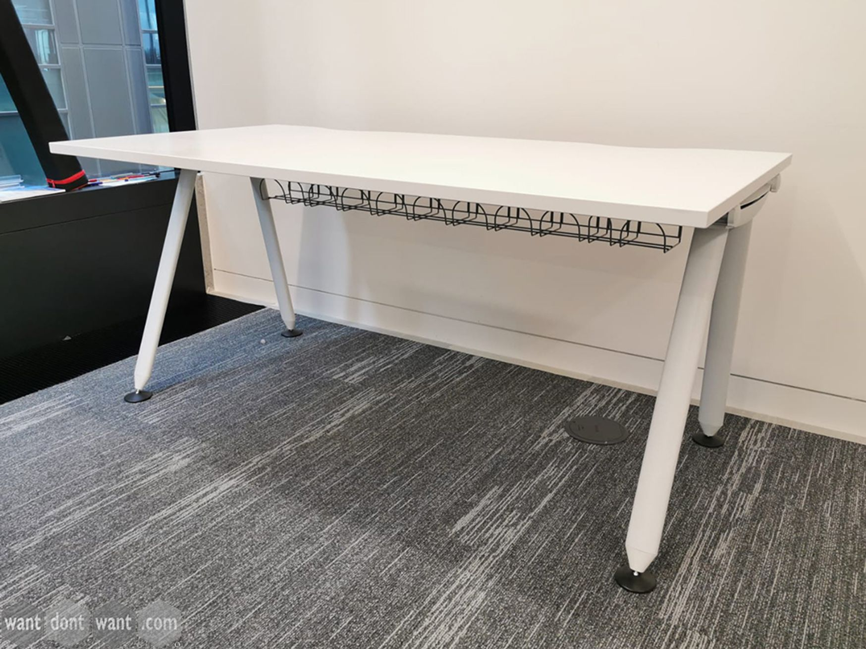 Used White Herman Miller Abak Desks with White Legs and Cable Trays