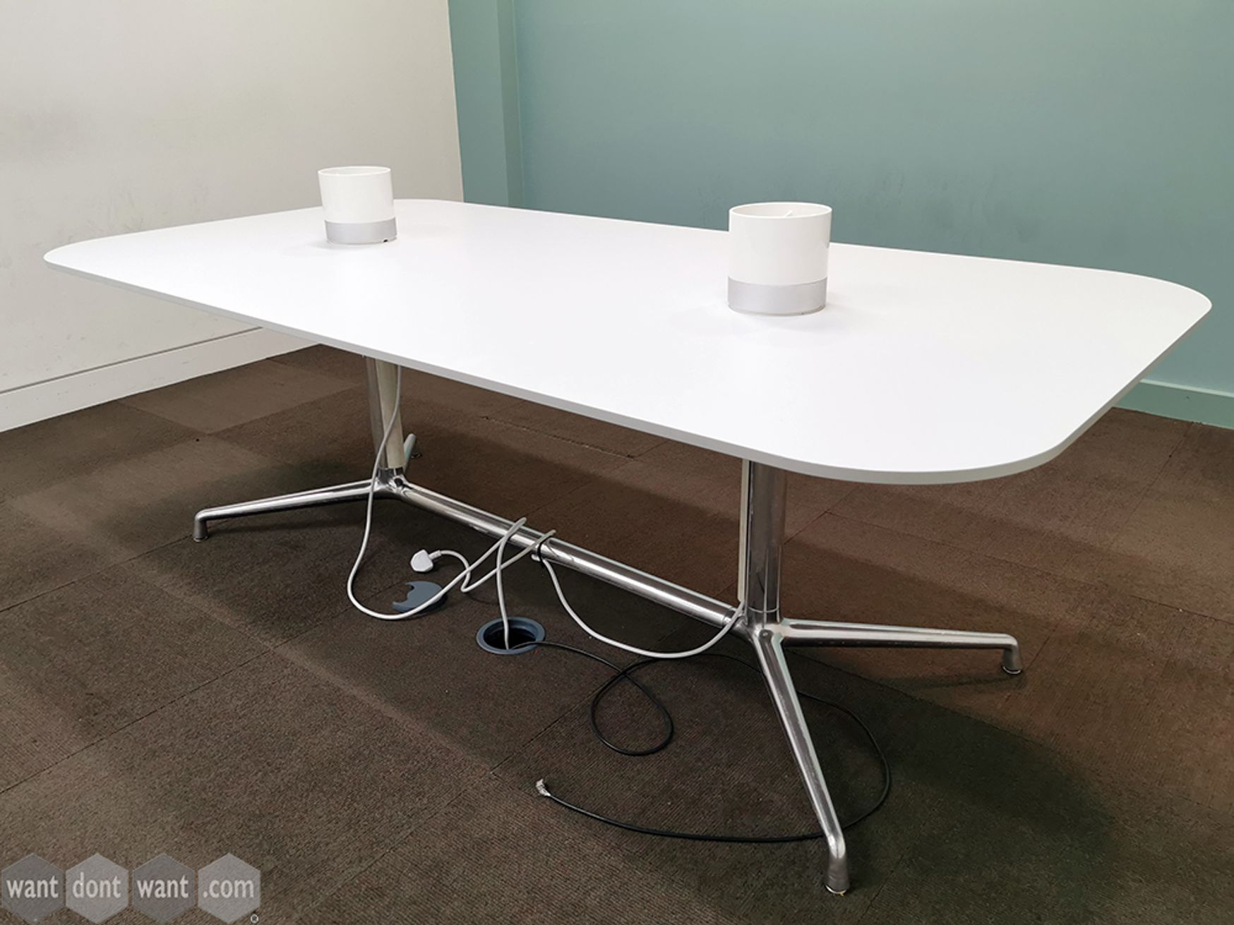 Used Coalesse SW_1 Conference Table with White Top and Chrome Frame