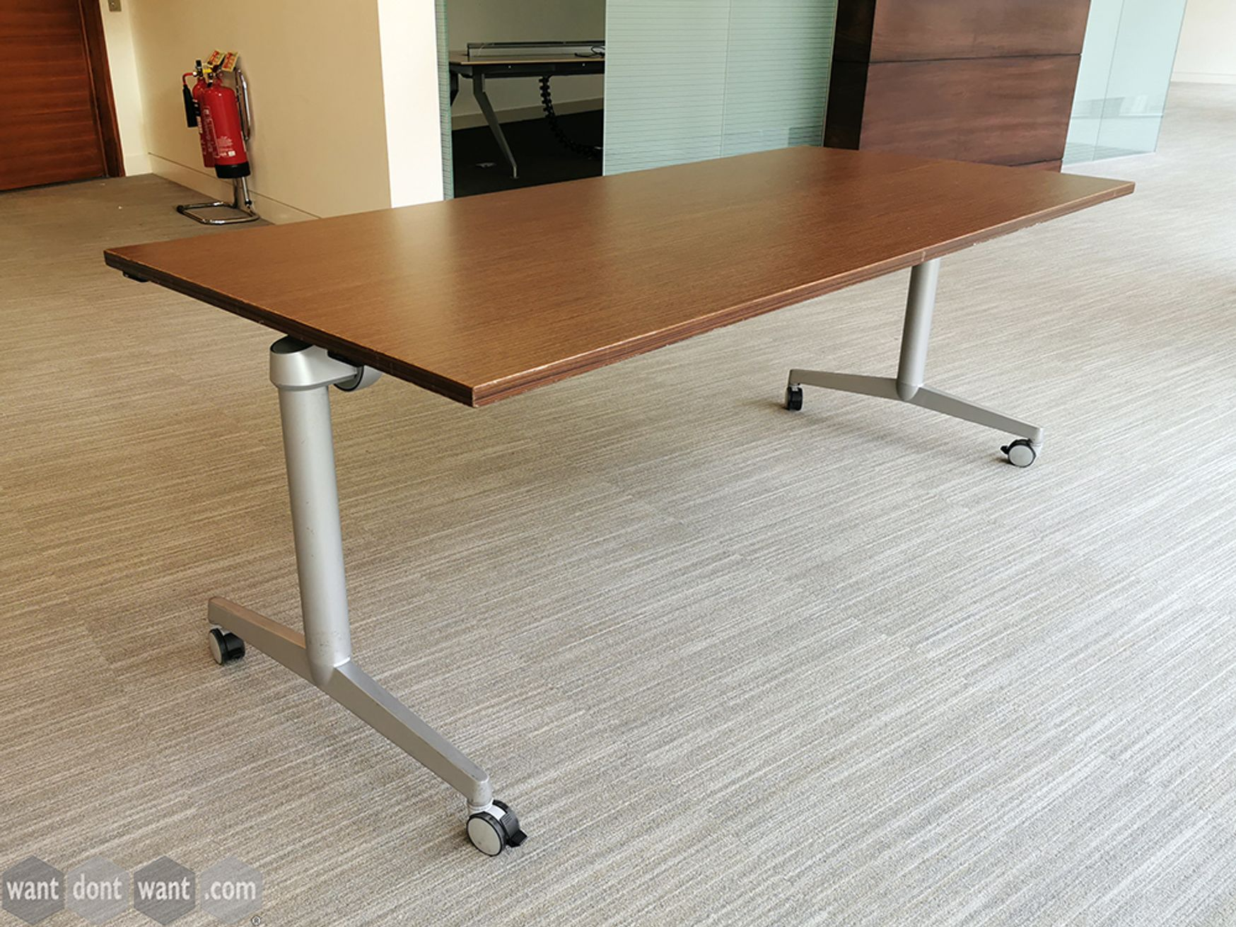 Used Steelcase Flip Top Twin Rectangular Meeting Table on Wheels in Walnut