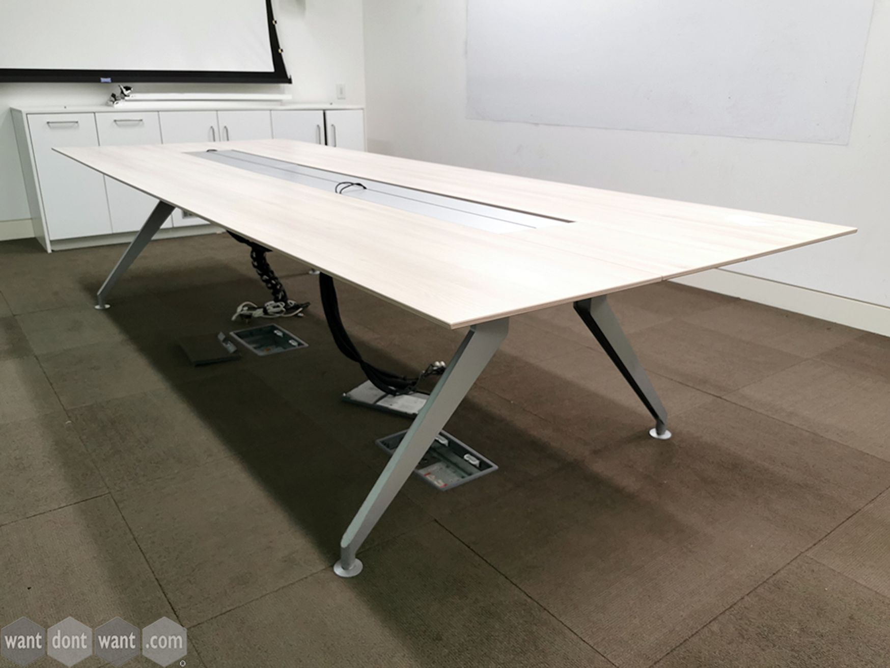 Used Steelcase 'Four Point Eight' Meeting Table with Acacia Top