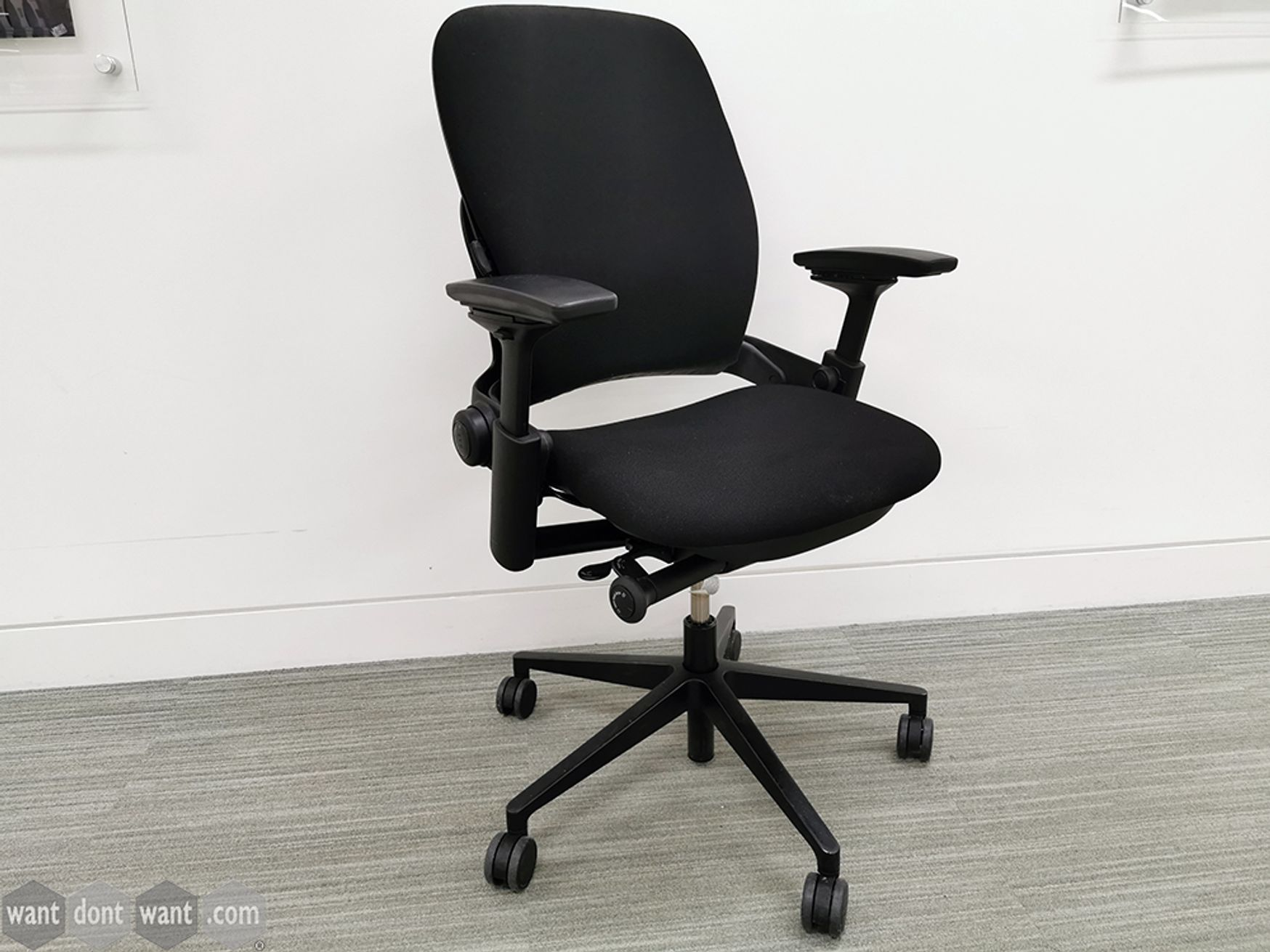 Used Steelcase Leap V2 Task Chair Upholstered in Black Fabric