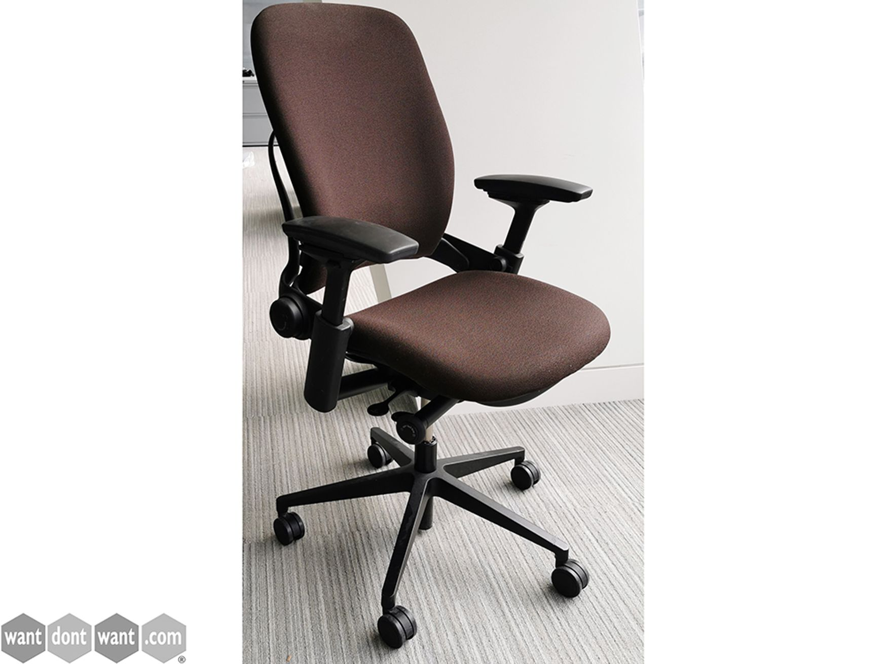 Used Steelcase Leap V2 Task Chair Upholstered in Brown Fabric