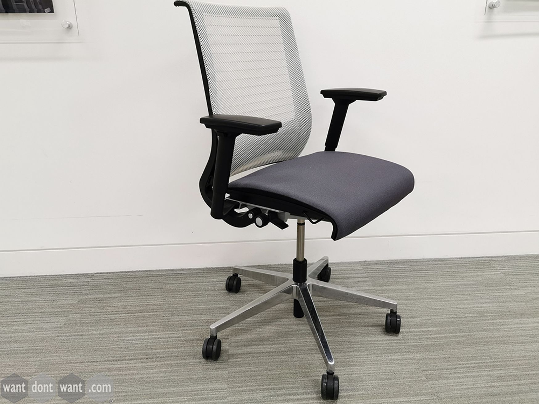Used Steelcase Think Operator Chairs with Grey Seat Pad and White Back on Chrome Base