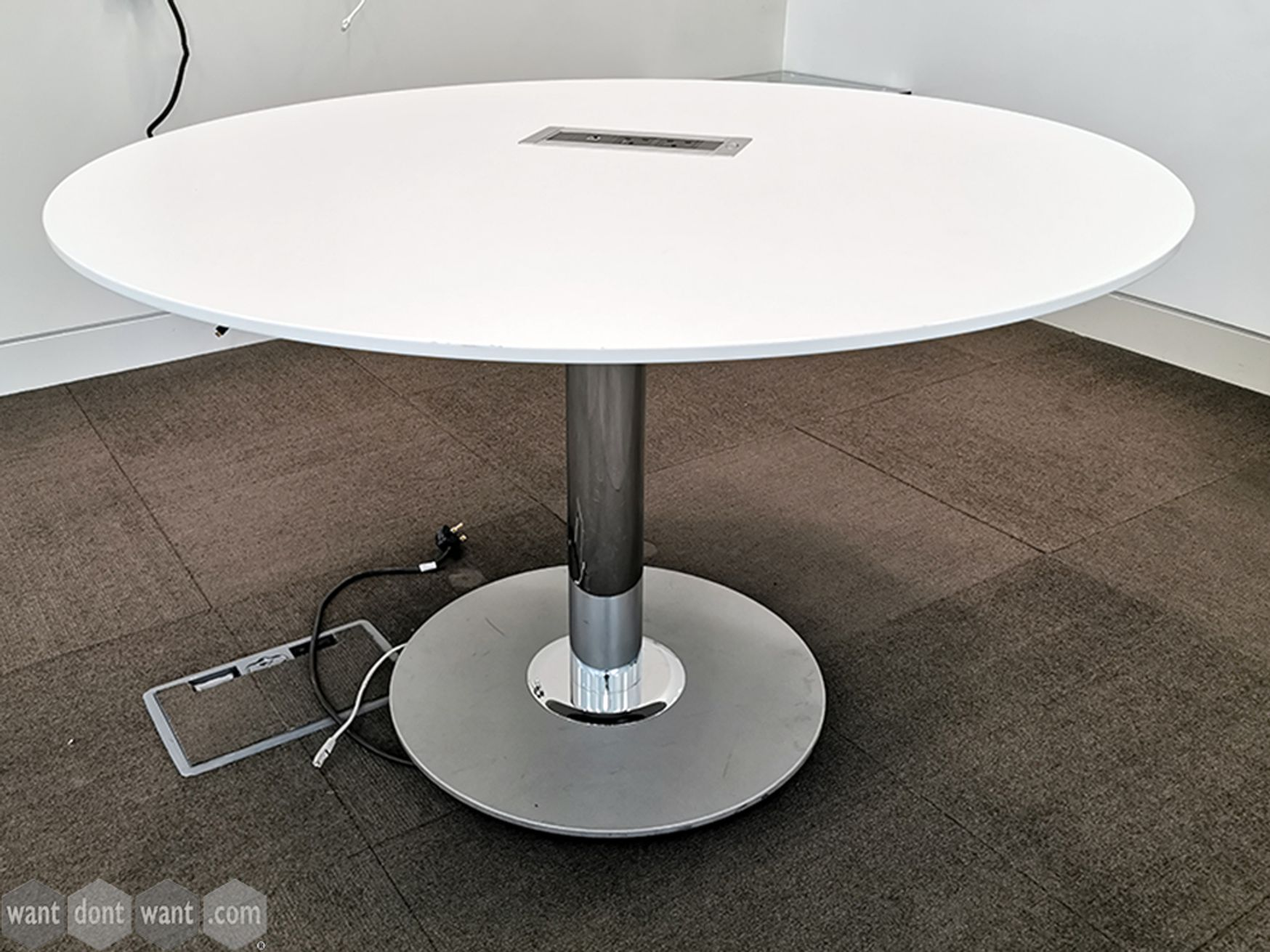 Used White Circular Table with Chrome Column Base and Power/Network Sockets