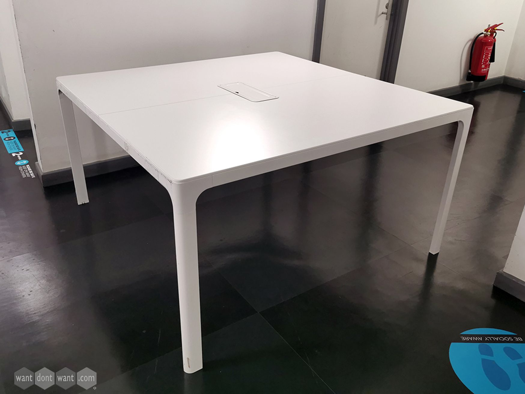 Used White 1400mm Square Meeting Table with Cable Access Flap