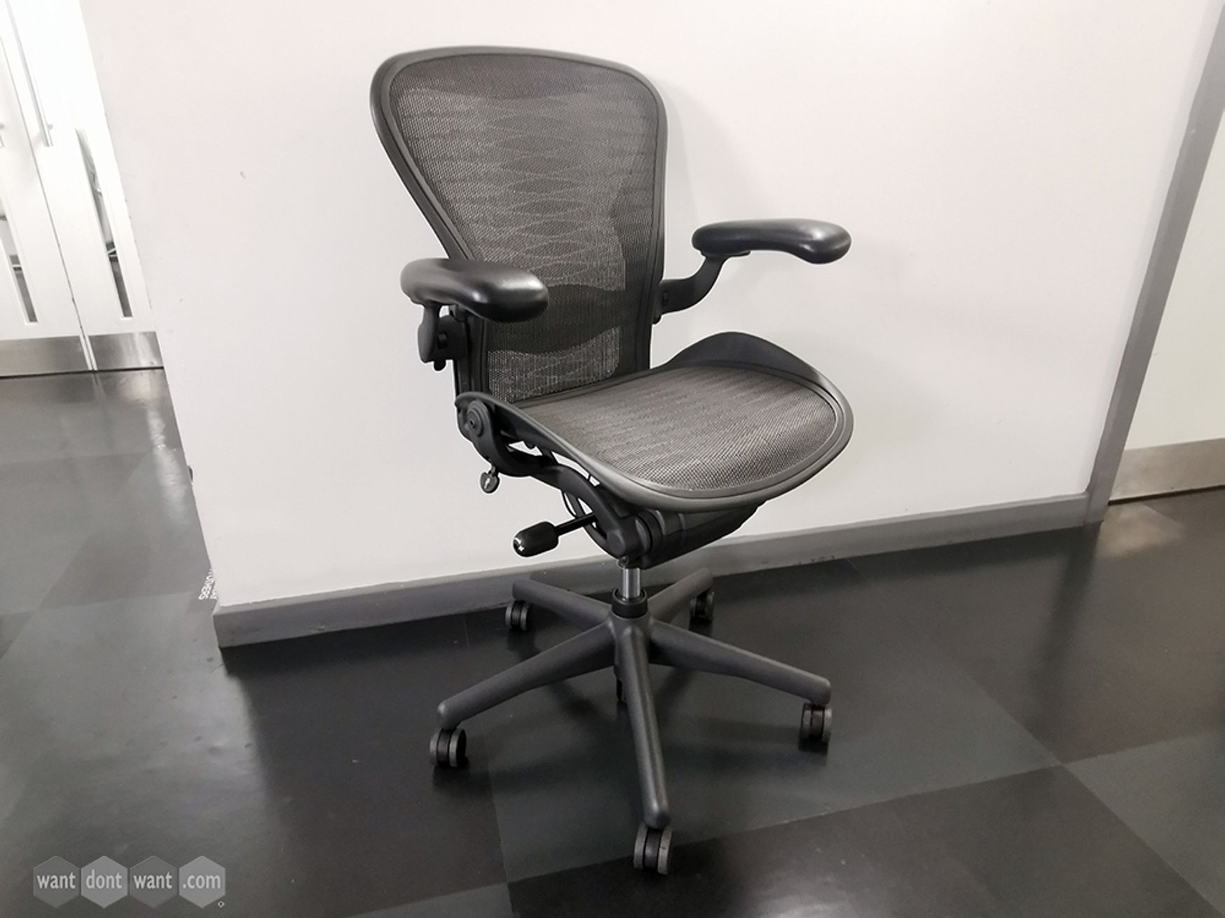 Used Size B Herman Miller Aeron Chairs with Tuxedo Mesh Full Spec with Lumbar Support