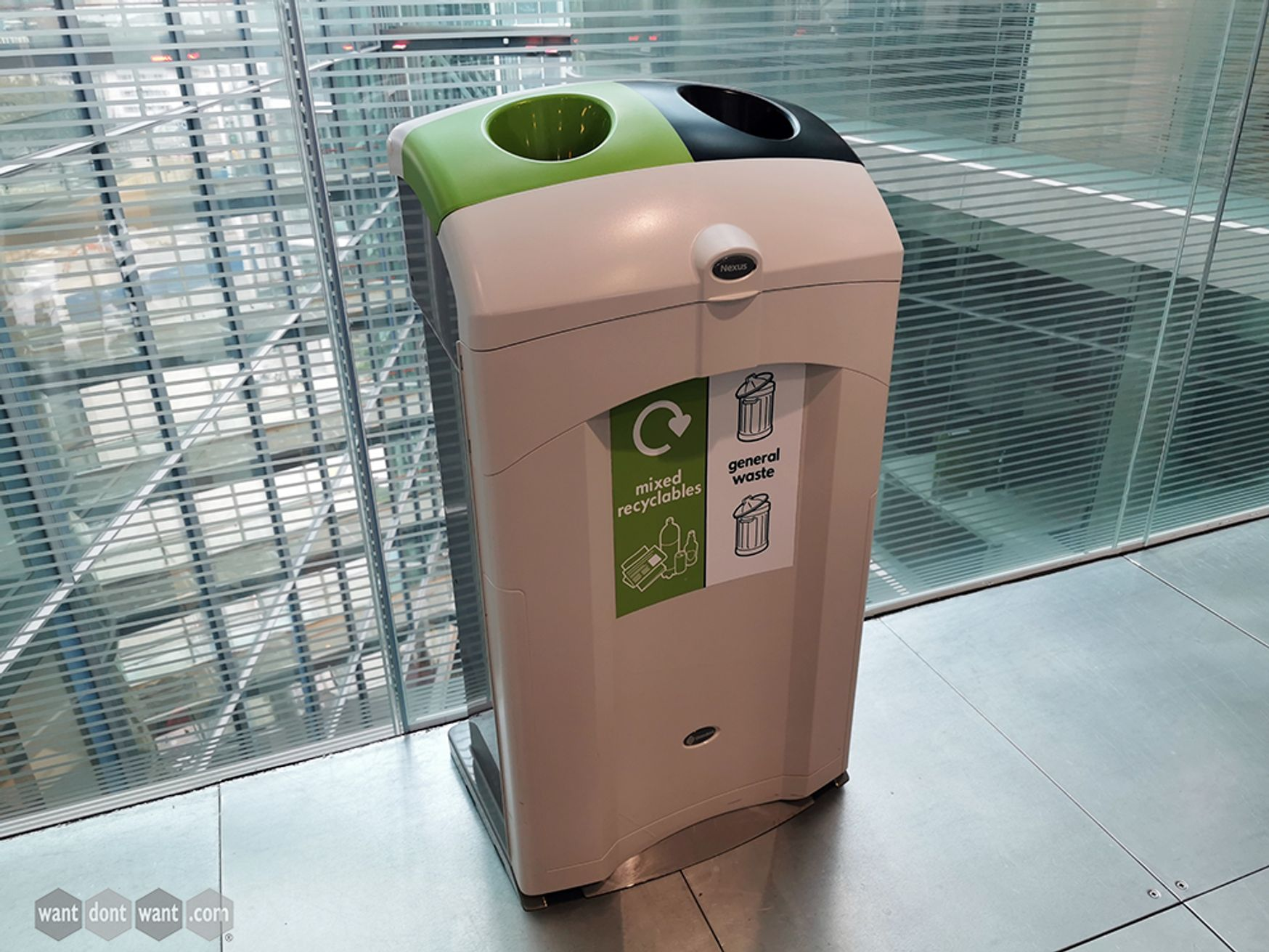 Used Nexus 100 Mixed Recyclables/General Waste Bin