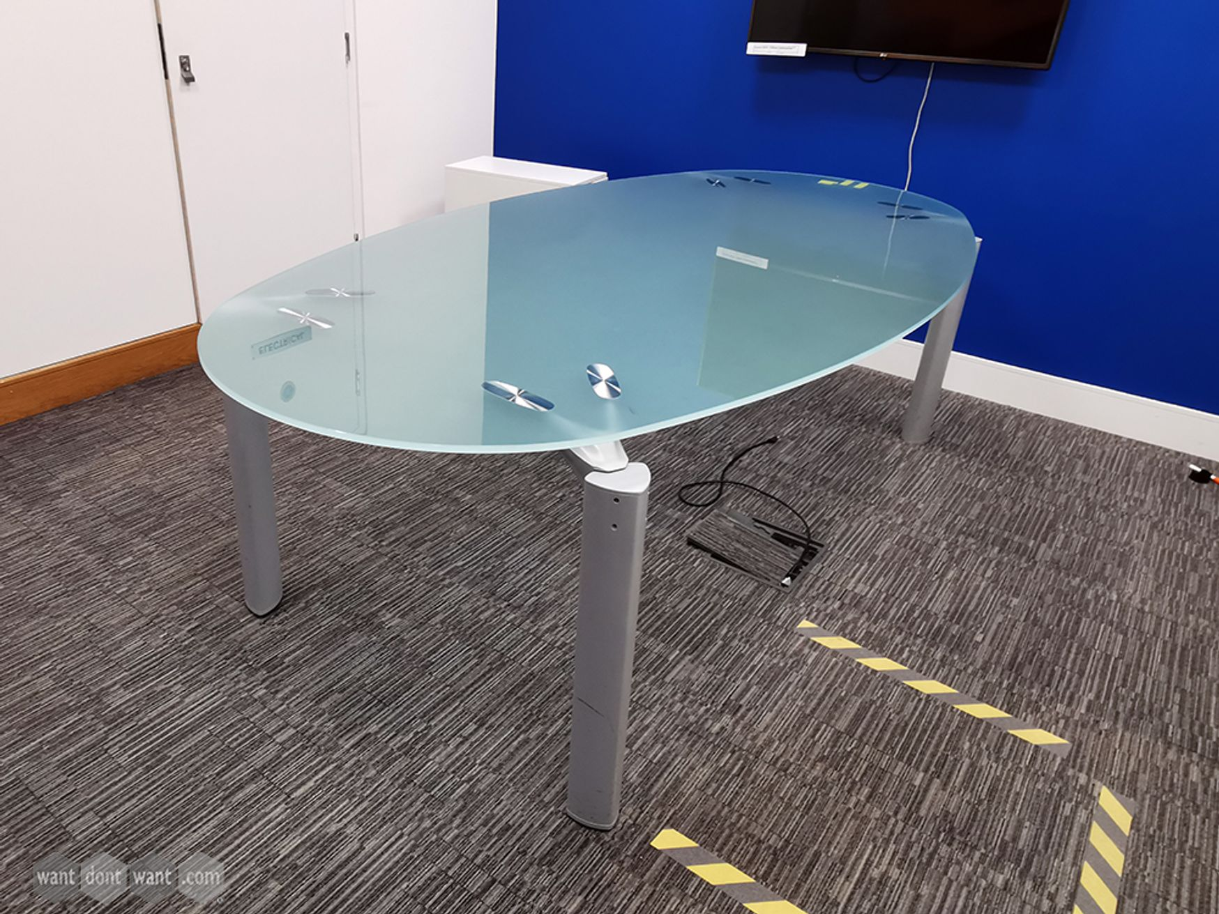 Used Frosted Glass Top Meeting Table