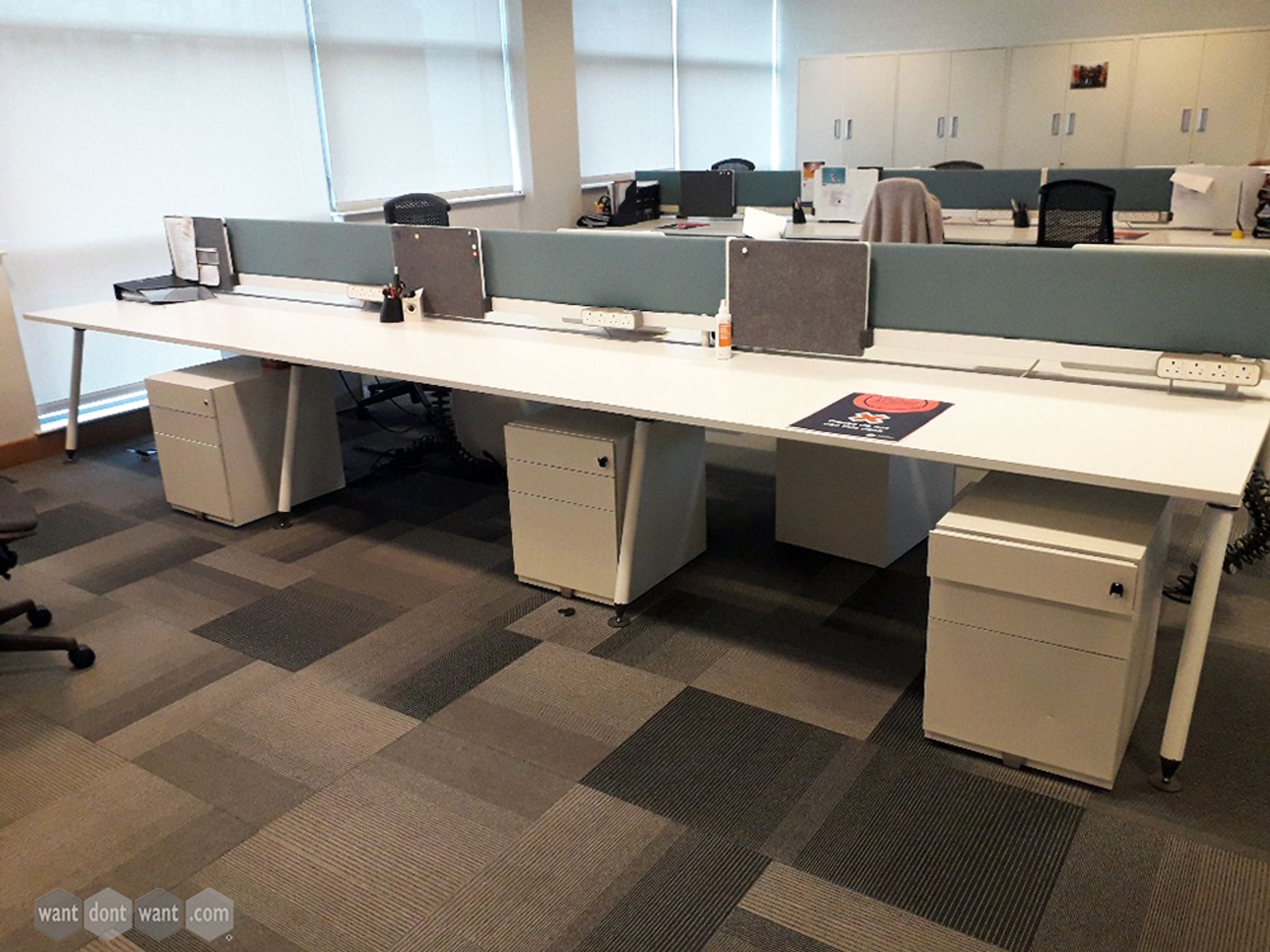 Used 1600mm Herman Miller Sense Bench Desks in White with Screens