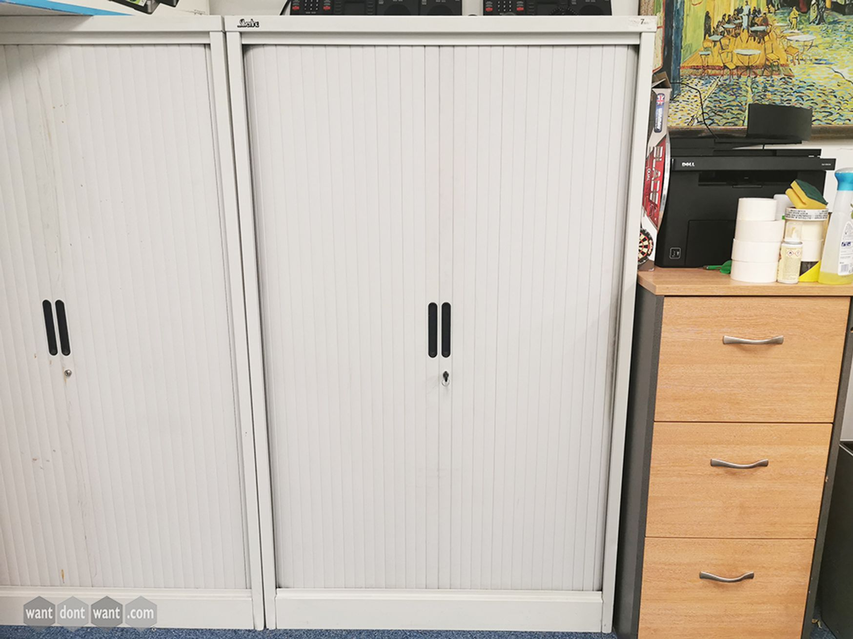 Used White Silverline Tambour Cupboards