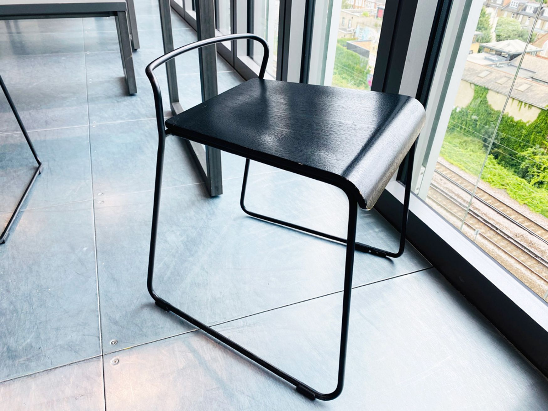 Used 'Social Transit' stools with black ash seat and black wire frame