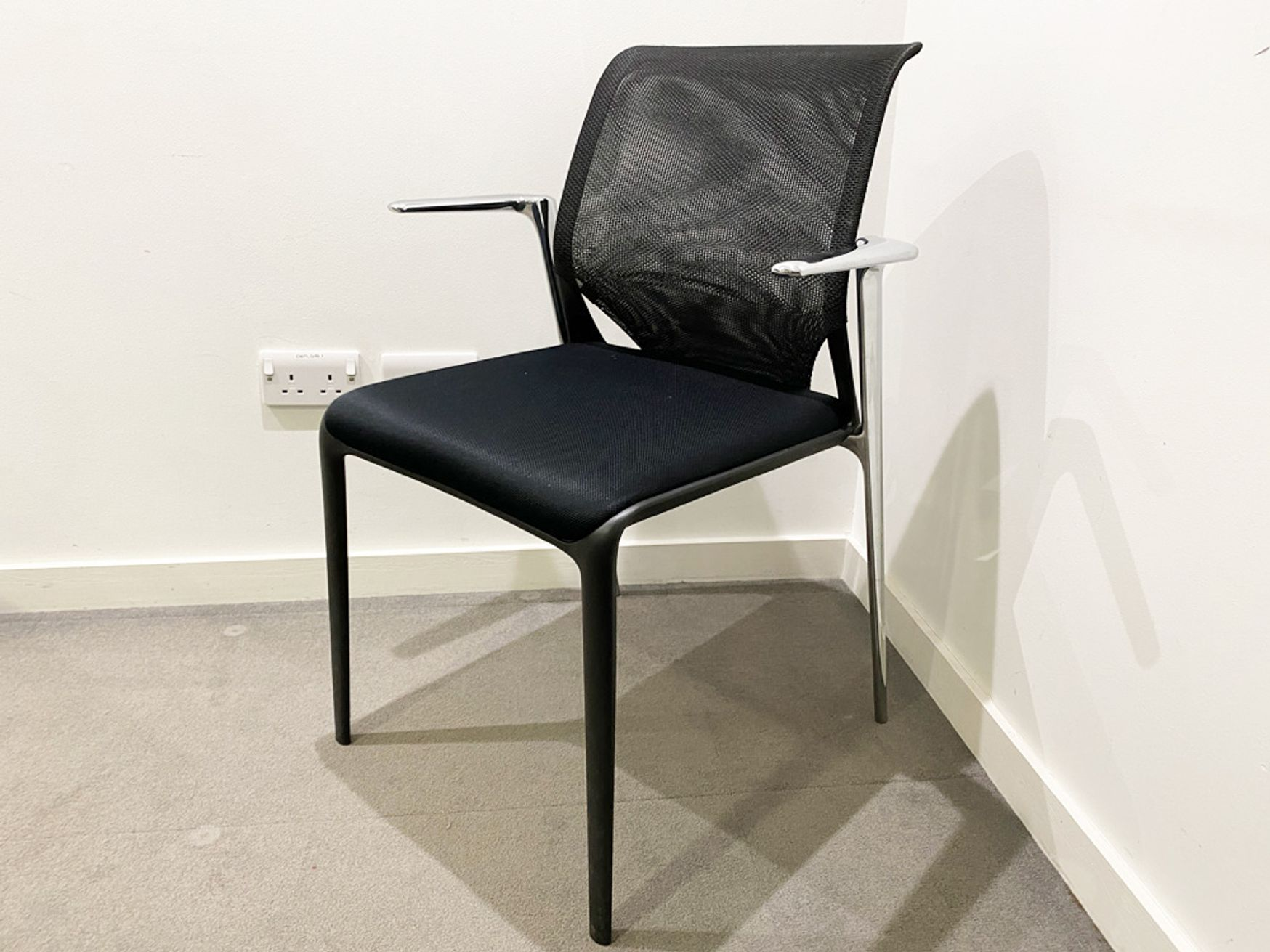 Stunning used Vitra 'Medaslim' chairs with chrome arms, mesh back and upholstered seat