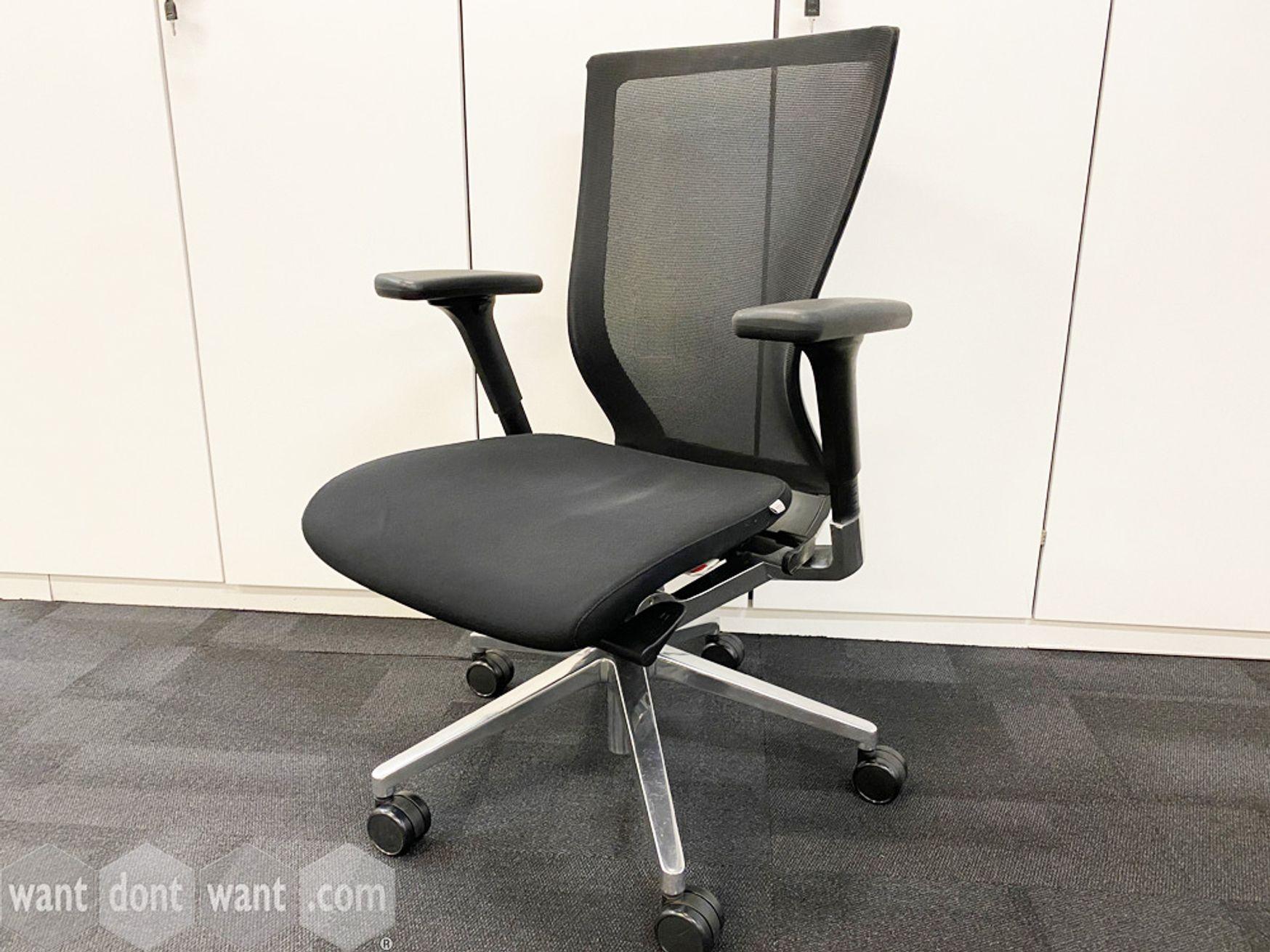 Used Sidiz task chairs with mesh backs, black upholstered seat and chrome base.