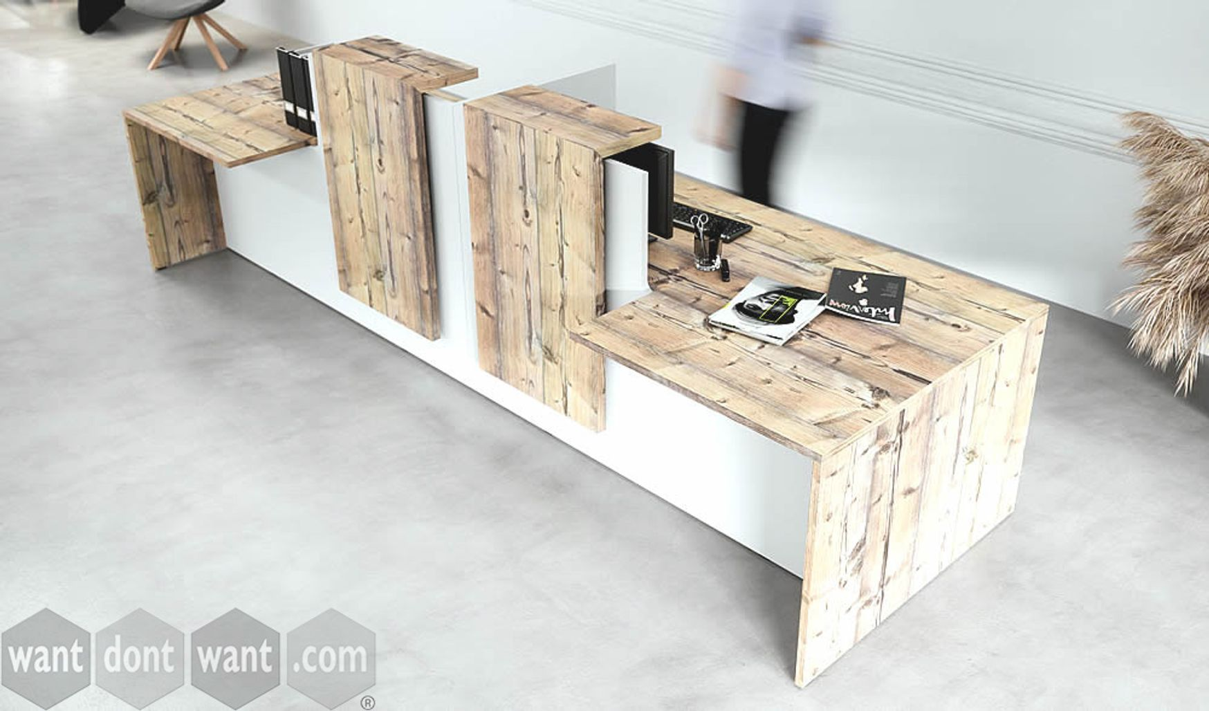 An eye-catching brand new reception desk in a contrasting white and timber finish.
