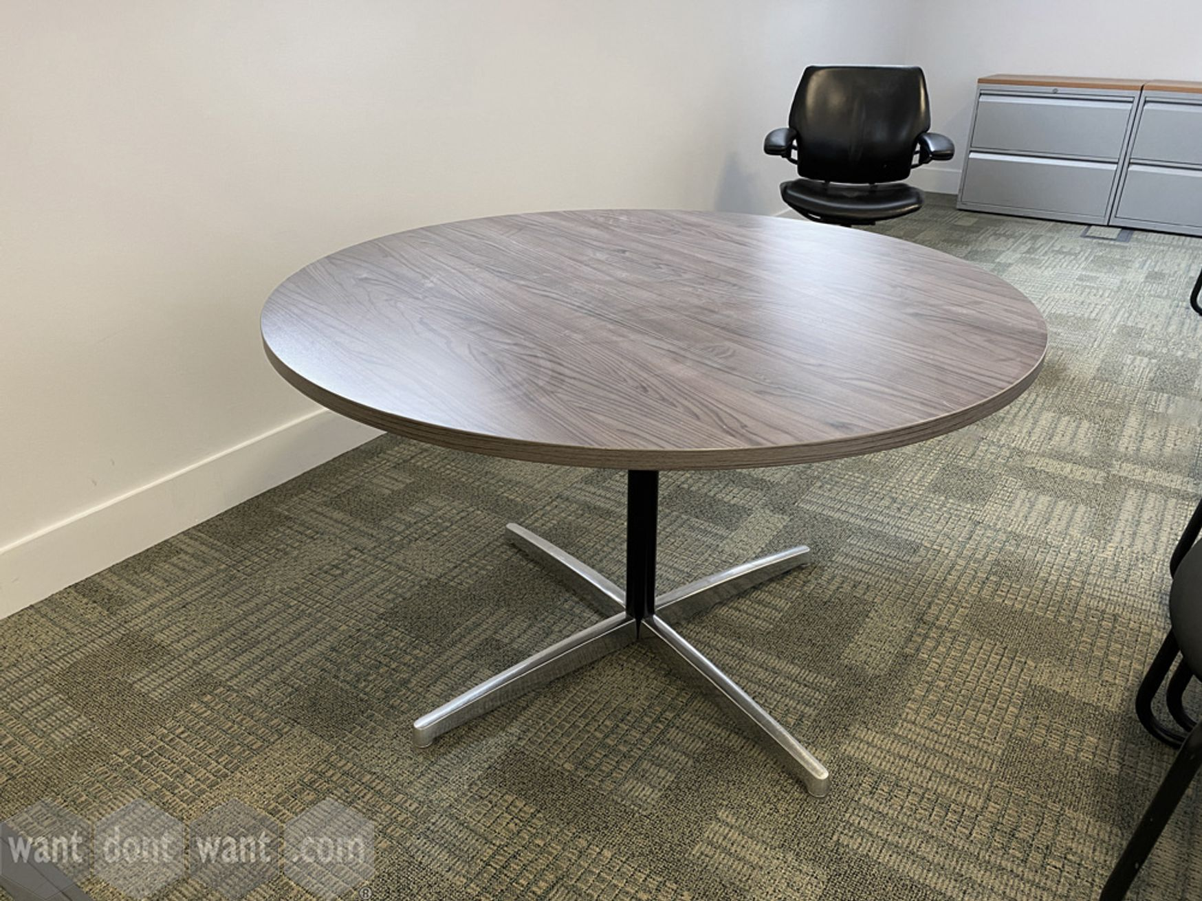 Used circular meeting tables (1200mm dia) with walnut MFC tops