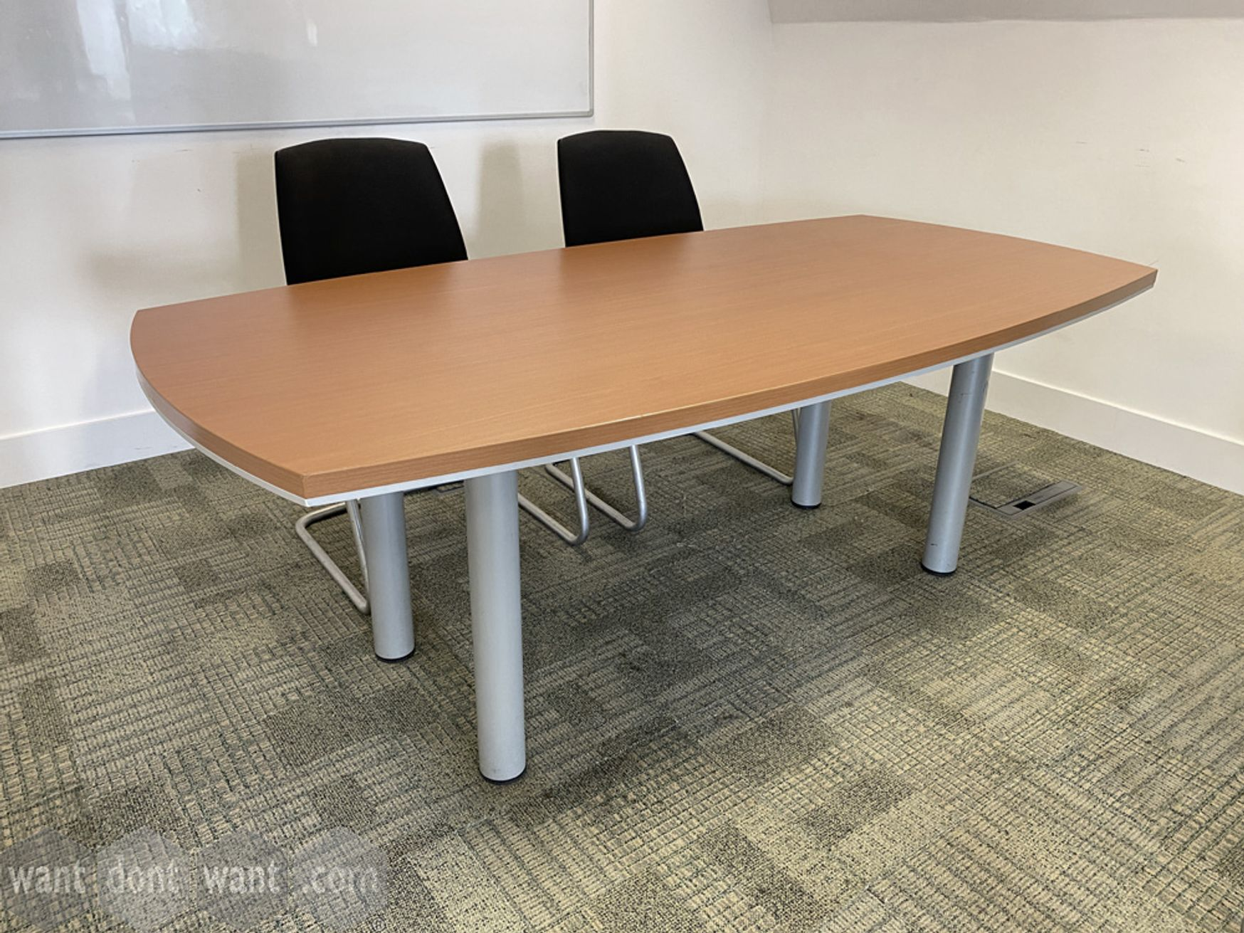 Used meeting table with grey tubular legs: 2000mm wide x 1000mm deep.
