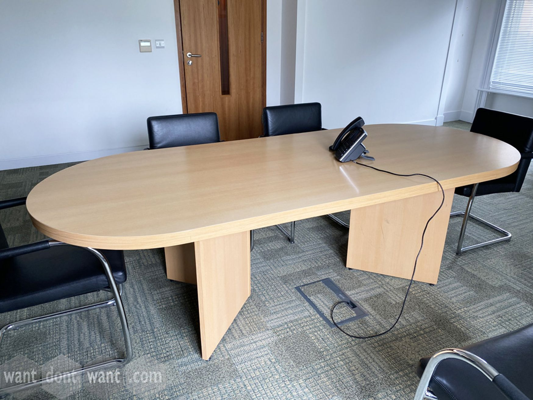 Used maple MFC meeting table 2450mm wide x 1000mm deep