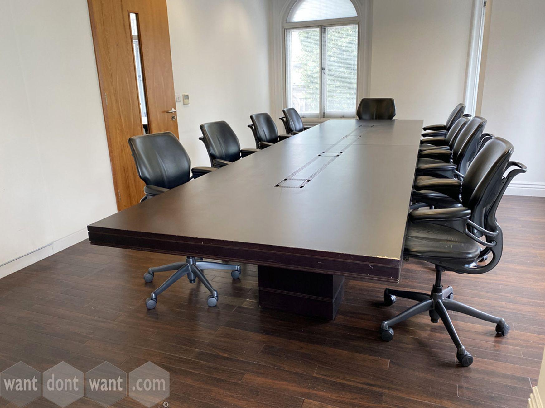 Used large boardroom table in dark mahogany veneer - some damage hence price