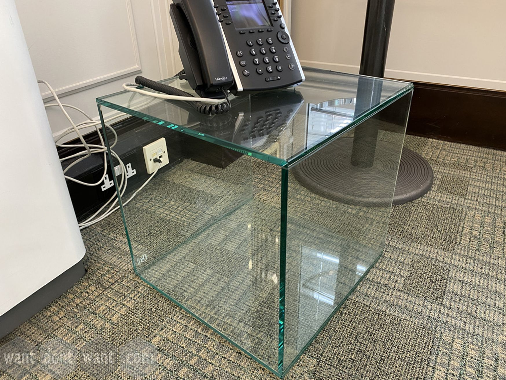 Used glass cube tables
