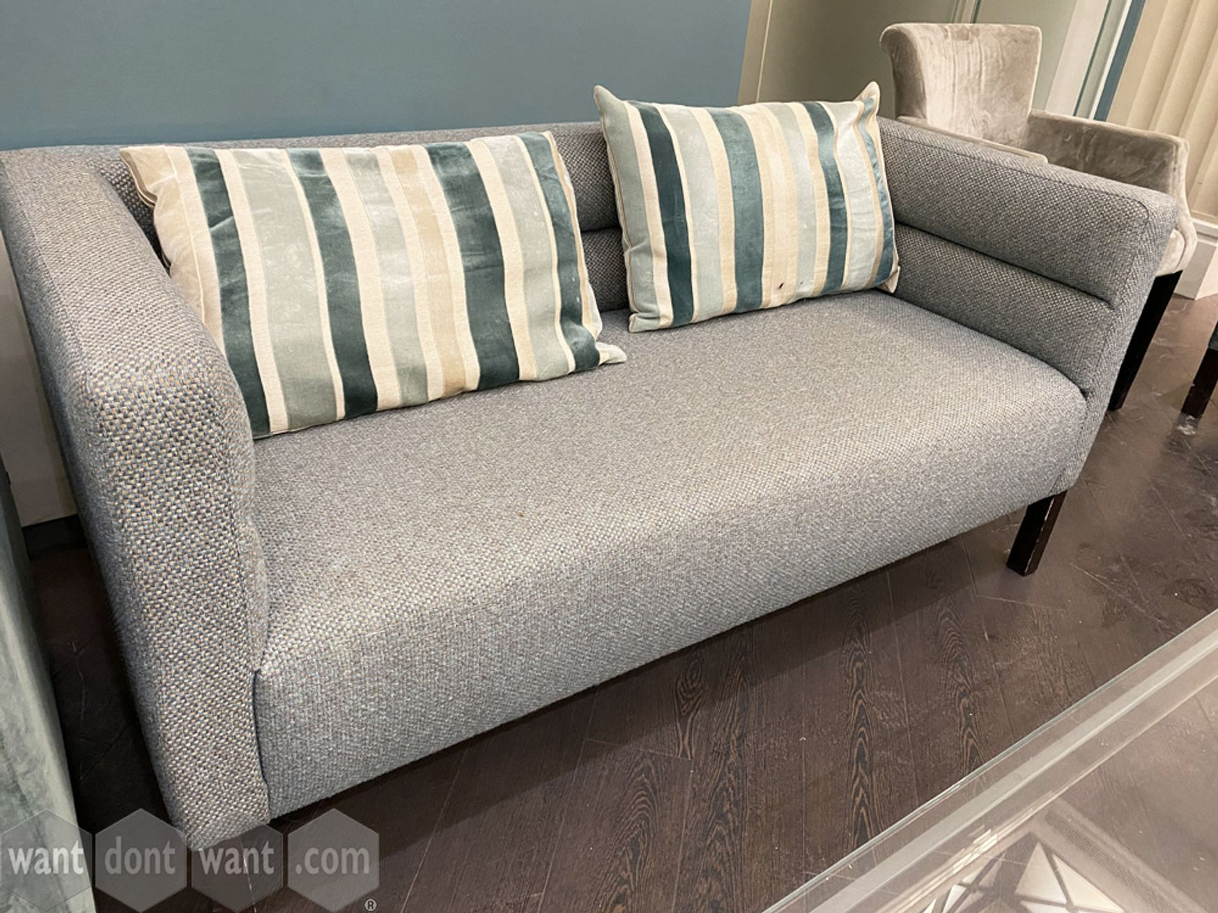 Used 2-seat sofa upholstered in multi-fleck fabric: 1500mm w