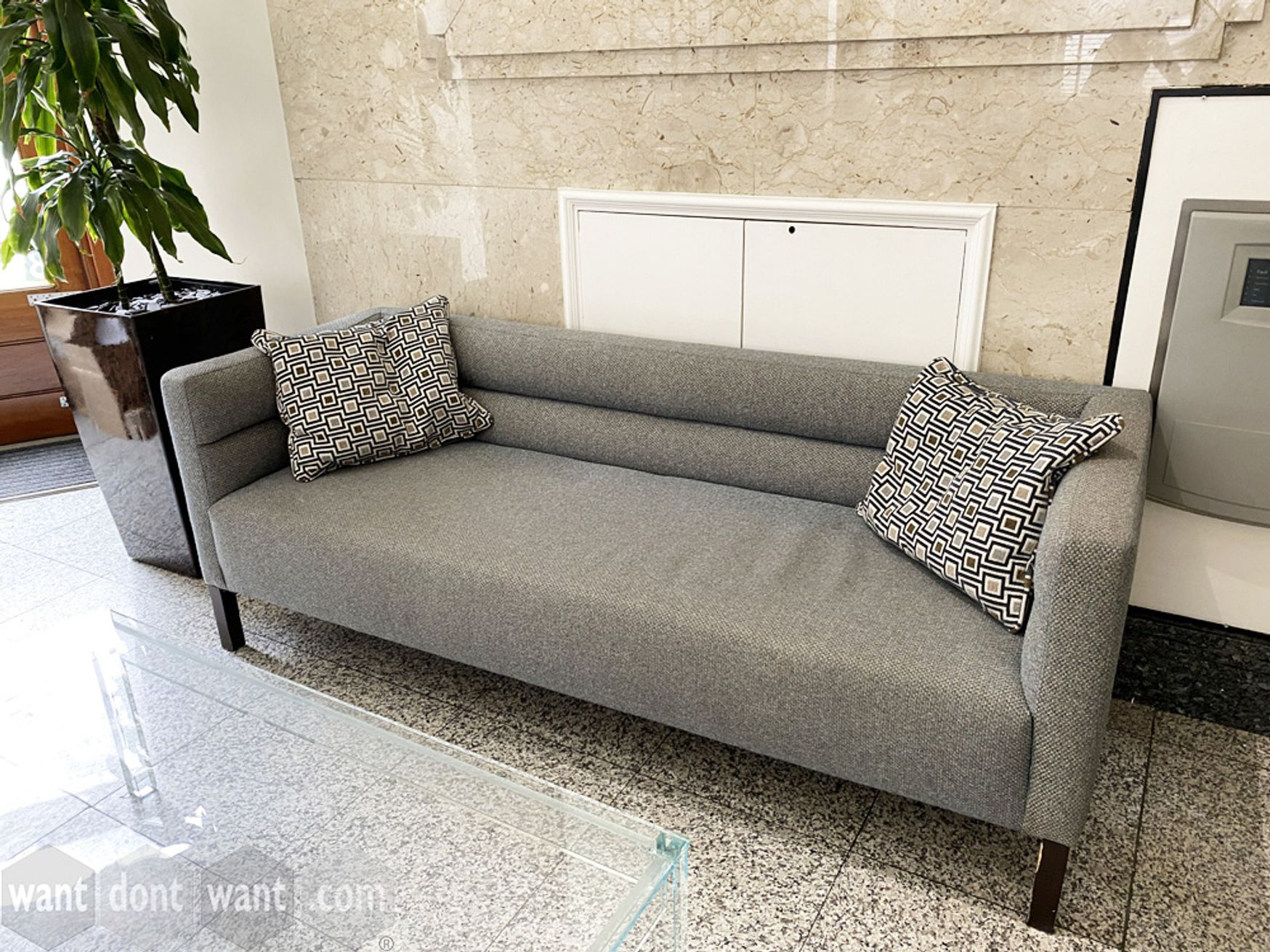 Used 3-seat sofa upholstered in multi-fleck fabric - 1900mm wide.