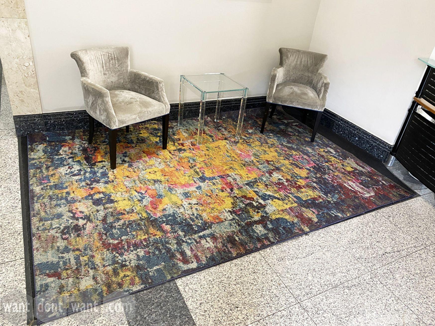 Used multi-coloured rug - 2920mm wide x 2000mm deep