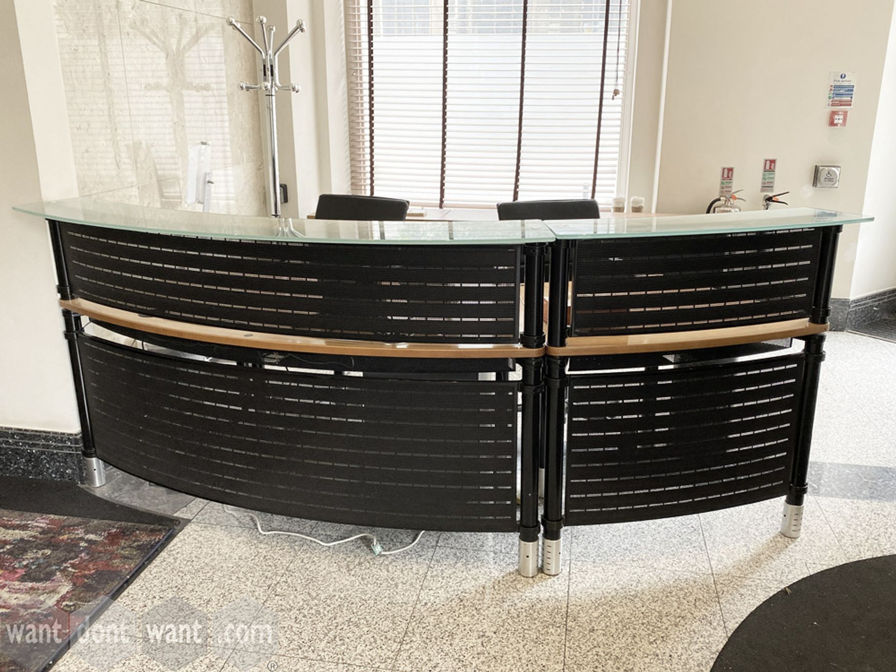 Used modern curved reception desk with black metal front panels - Approx. 2400mm wide.