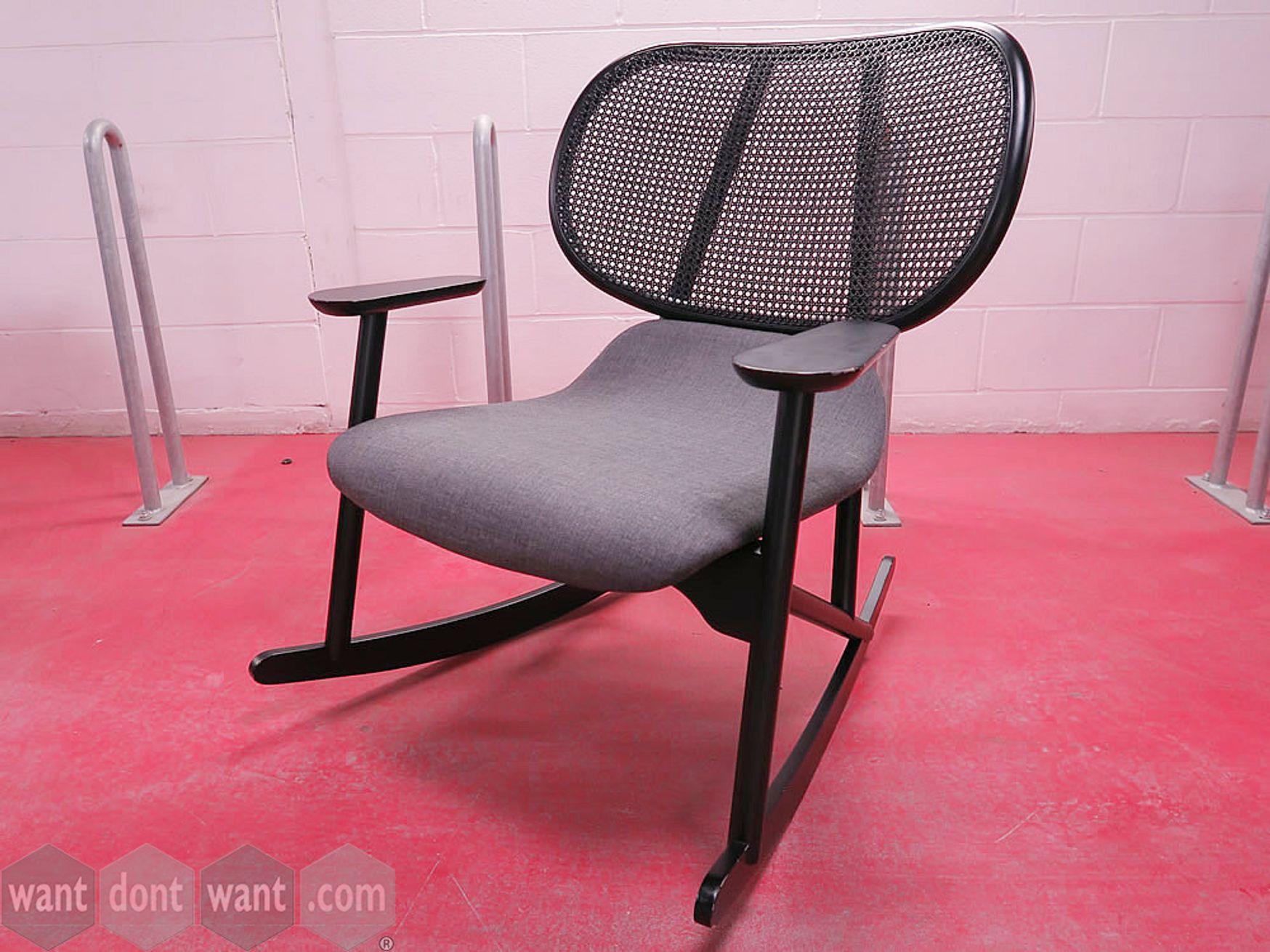 Fabulous used Moroso 'Klara' rocking chair with grey upholstered seat
