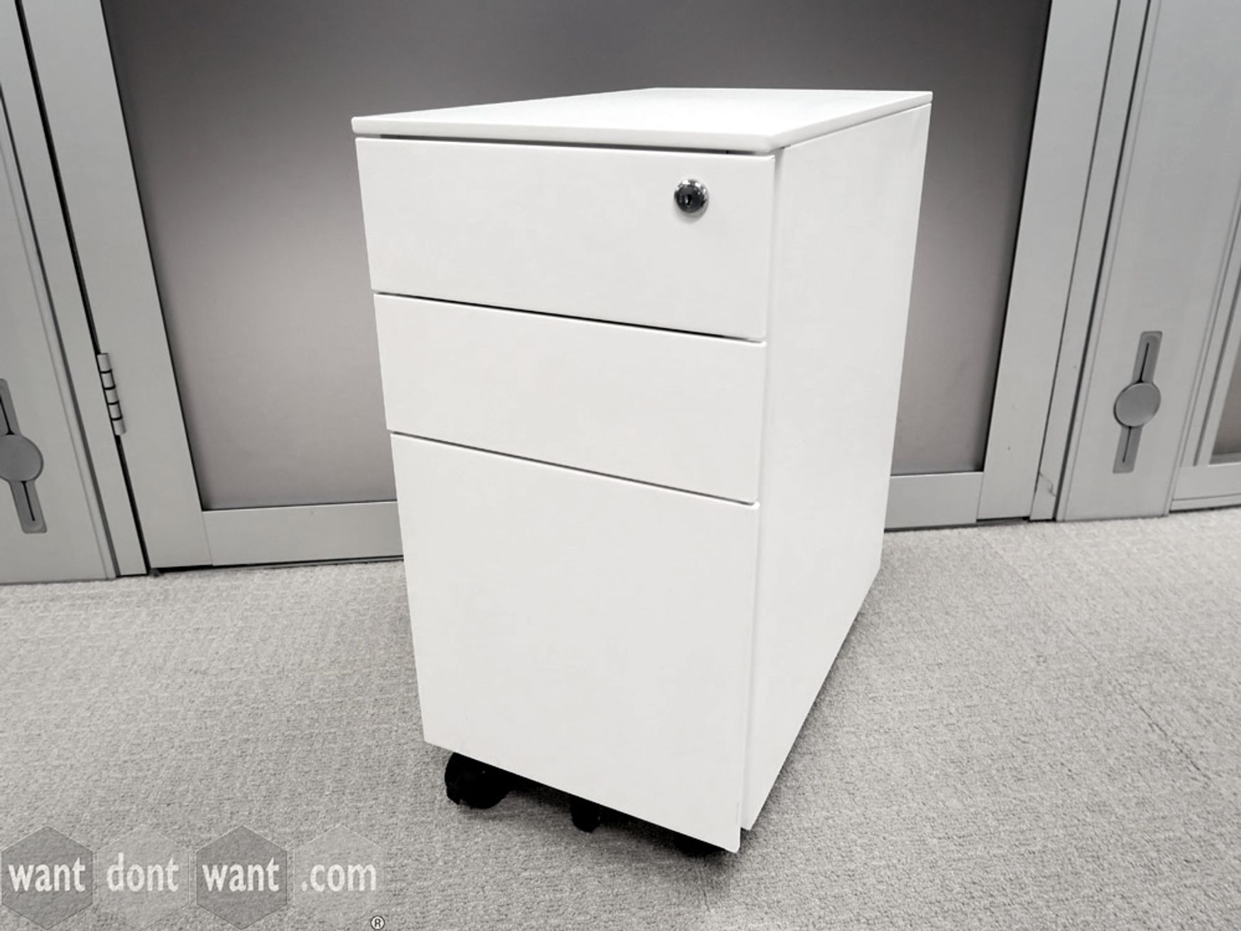 Used Steel Slim White Under Desk Mobile Pedestal