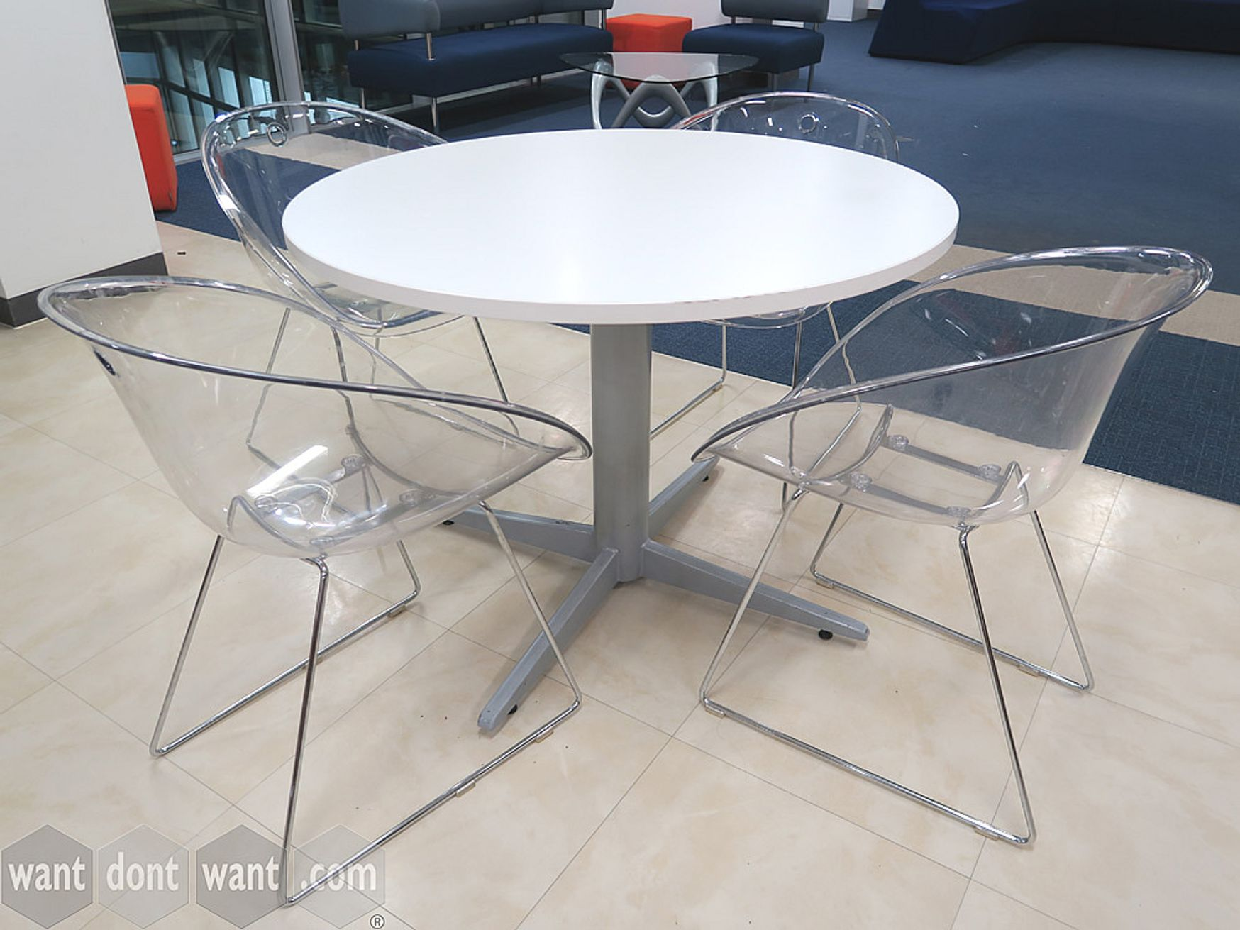 Used White Circular Table with 4 Star Base