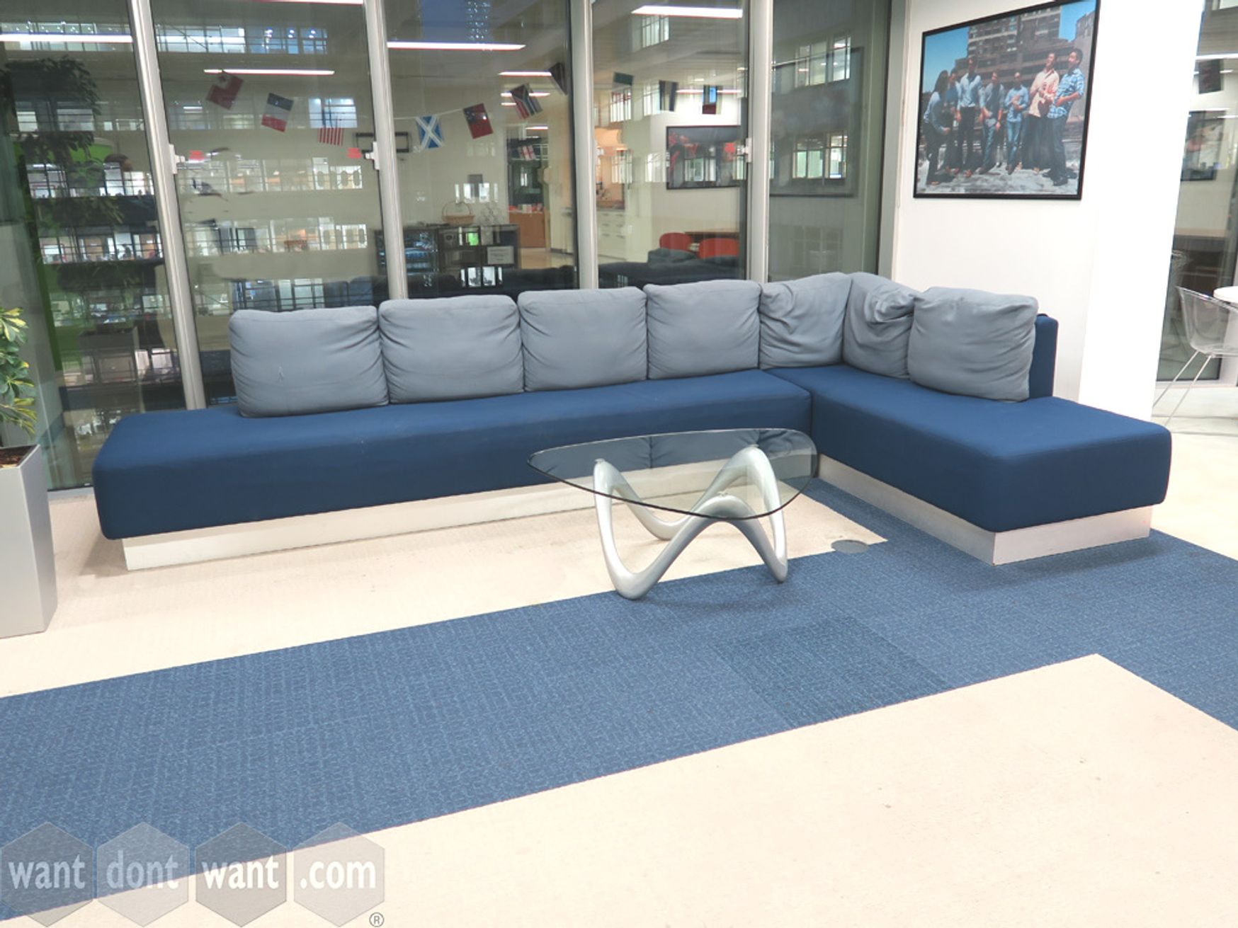 Used L Shape Sofa with Cushions Included