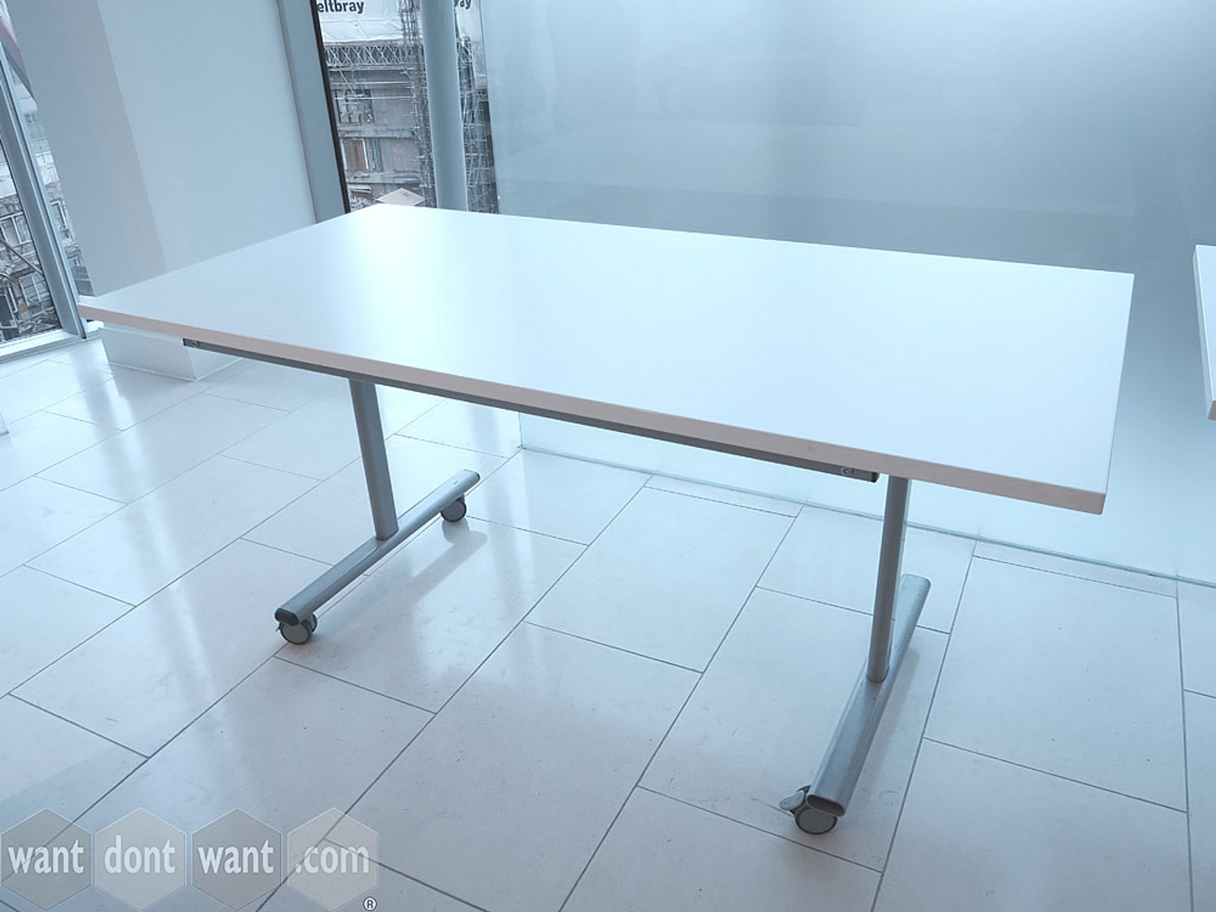 Used 1600mm White Flip-top Folding Table