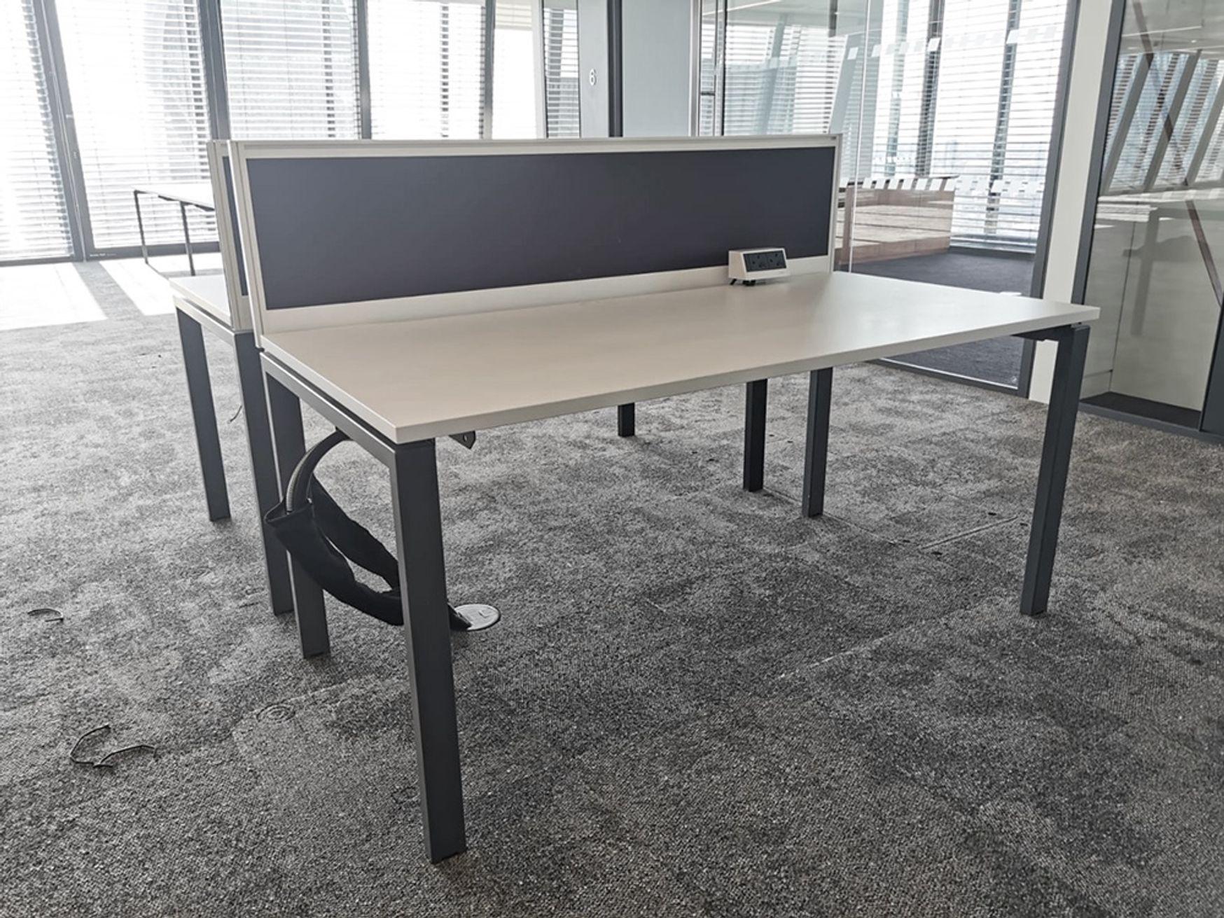 Used 1600mm x 800mm Task 'Team2' freestanding white desks