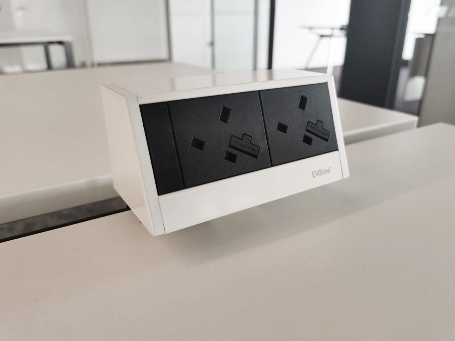 Used Desk mounted 'Evoline' double power modules.