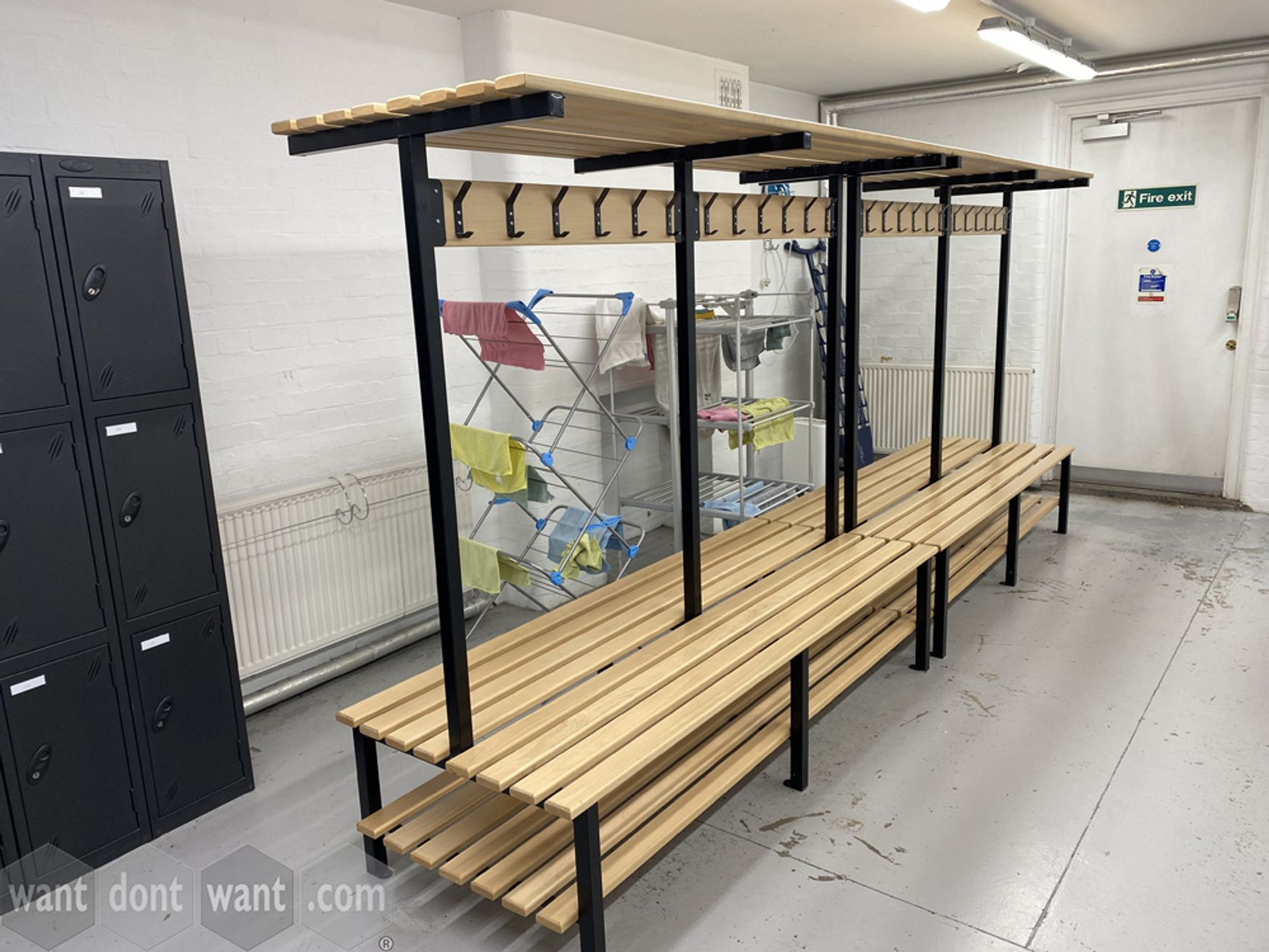 Used changing room benches with bottom shoe shelf, coat hooks and top shelf
