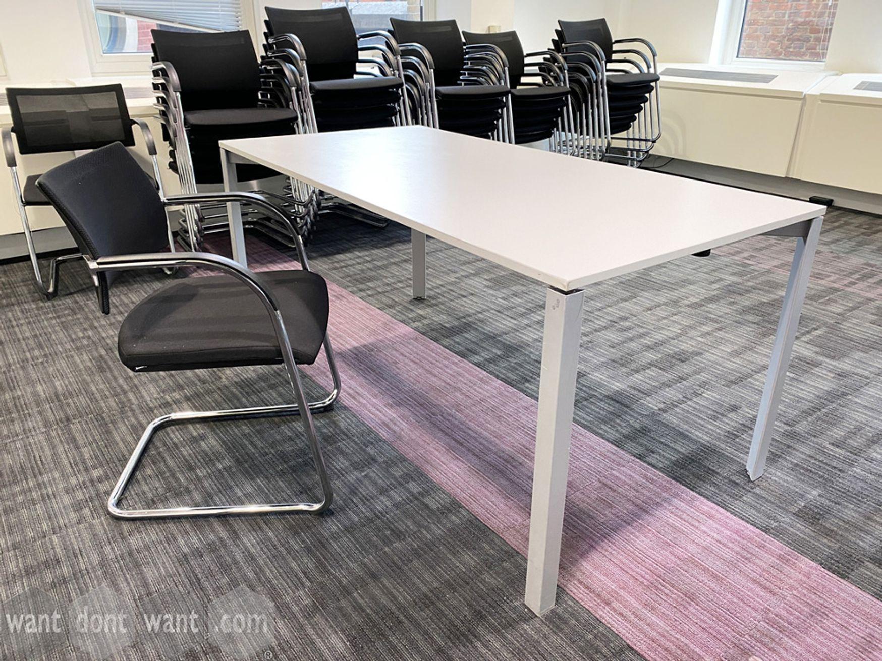 Used 'Bene' white folding frame tables 1600mm w x 800mm deep.