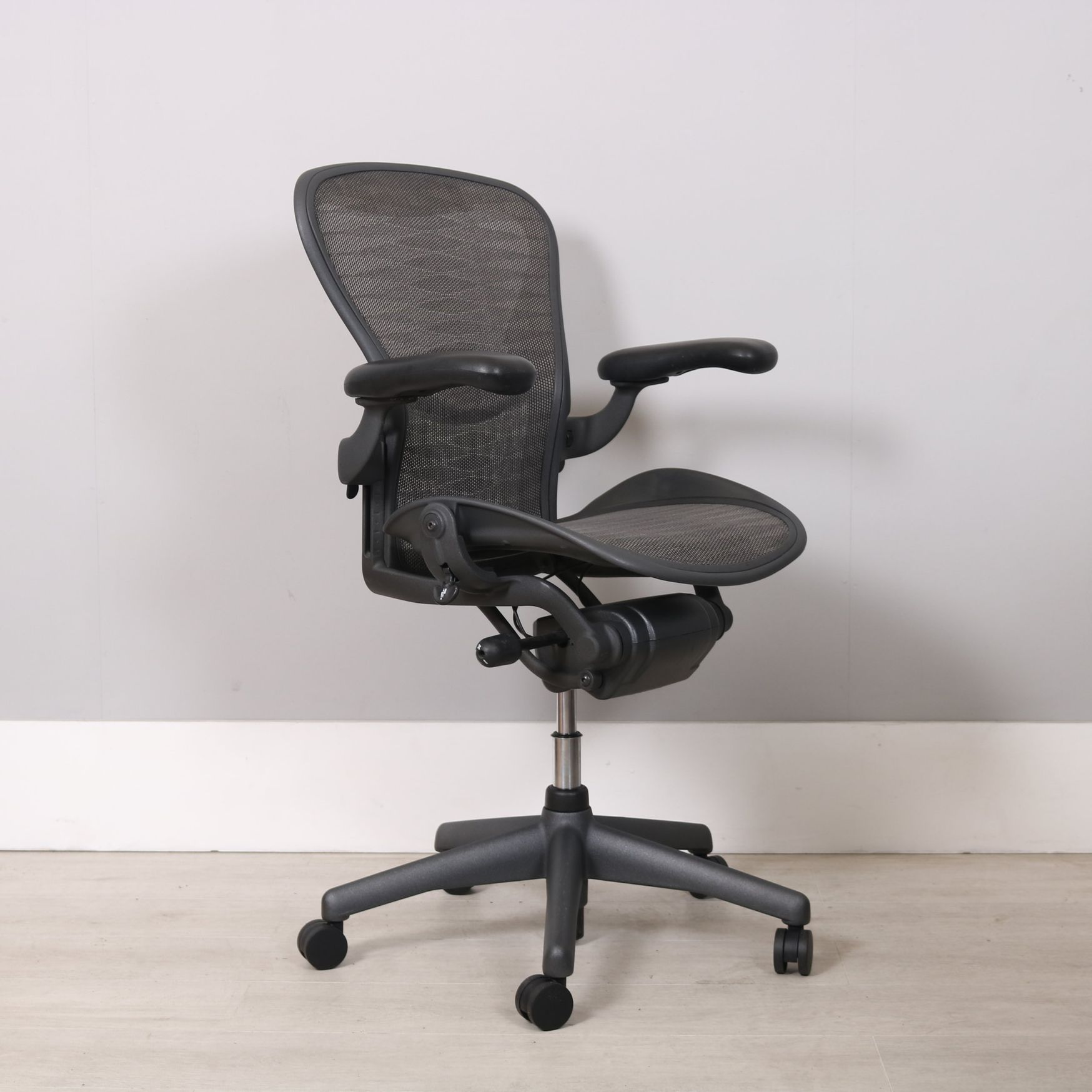 Used Herman Miller Aeron Chairs Size B in Graphite with Tuxedo Mesh