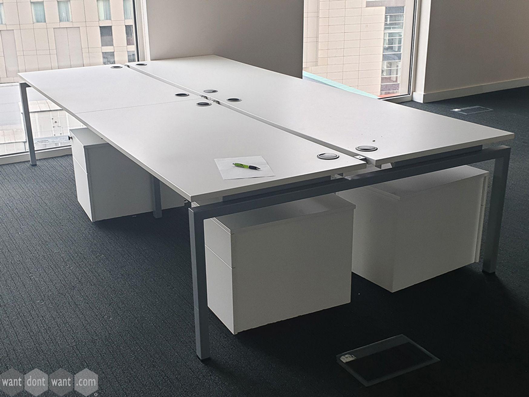 Used 1600mm White Bench Desks