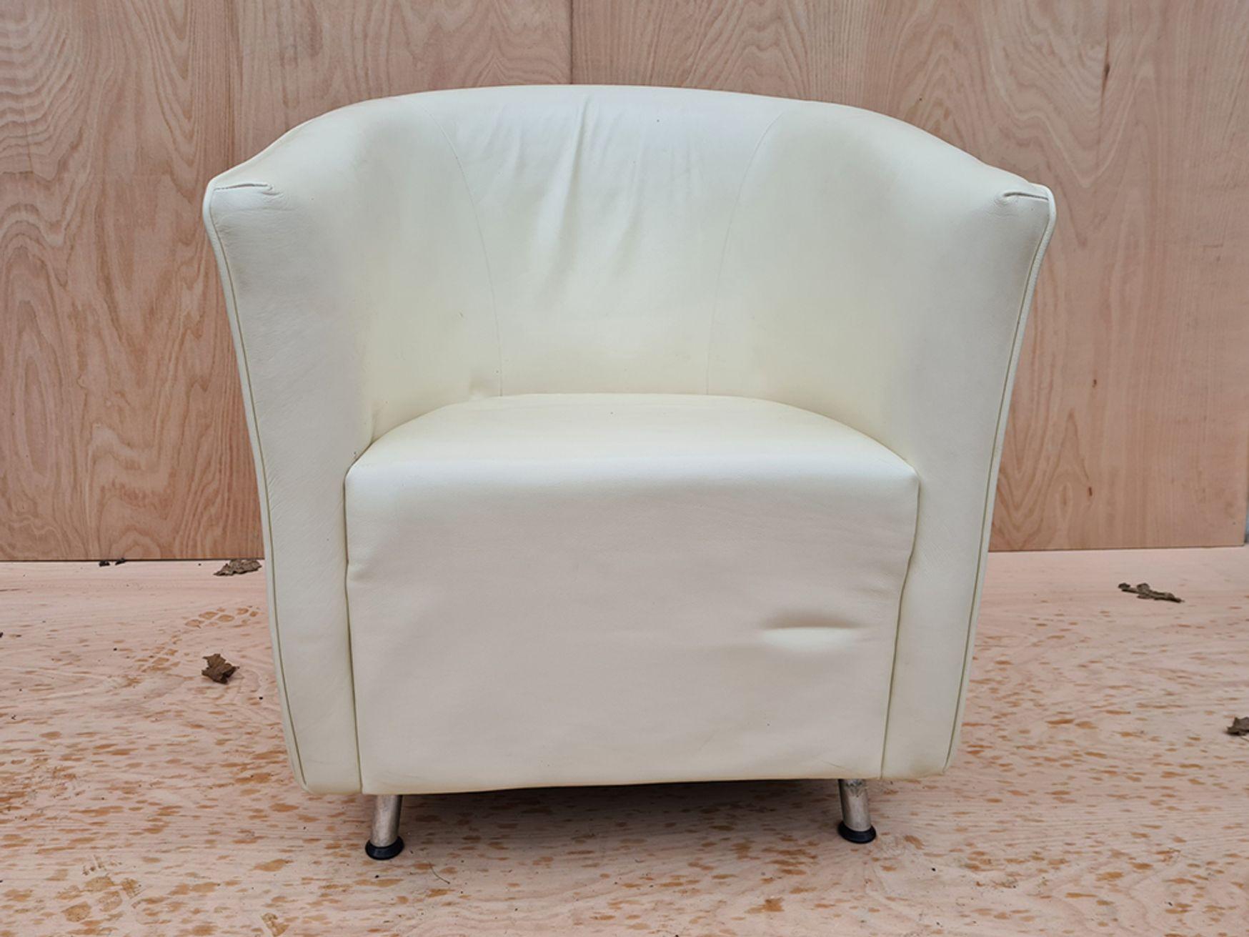 Used Orangebox 'Abbey' Cream Leather Armchair