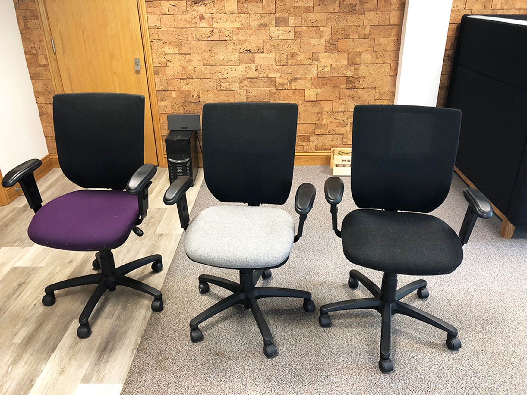Used Mesh Back Operator Chairs with various fabric seats available