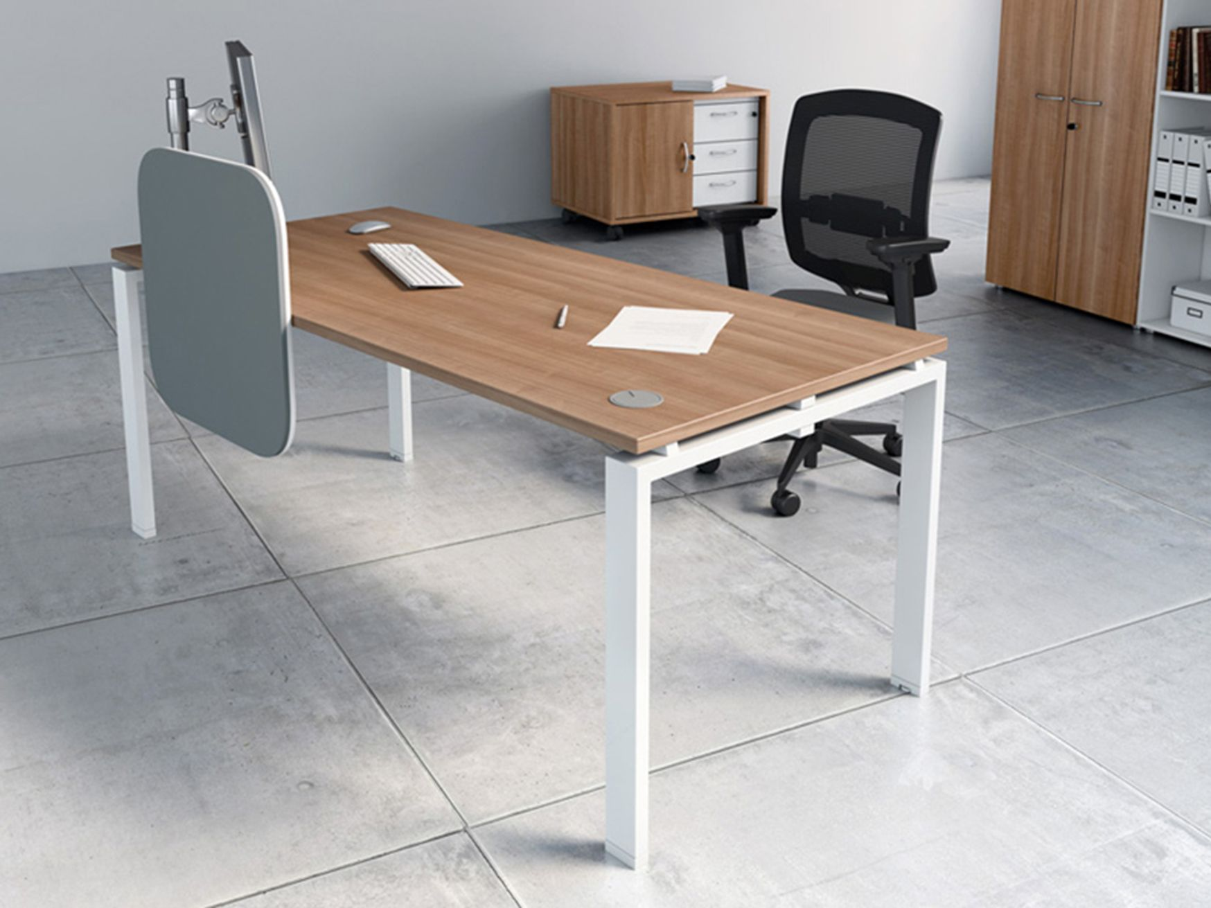 Modern desks with a choice of top and leg finishes.