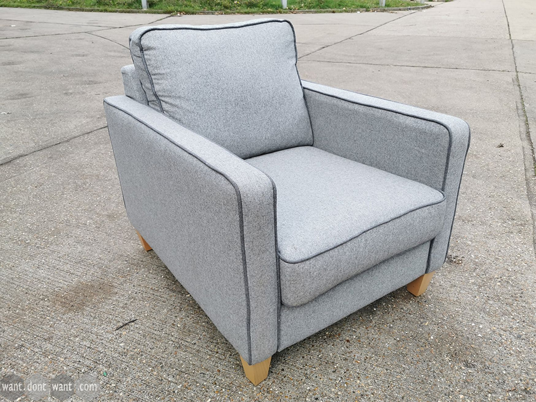 Used Grey Fabric Armchair