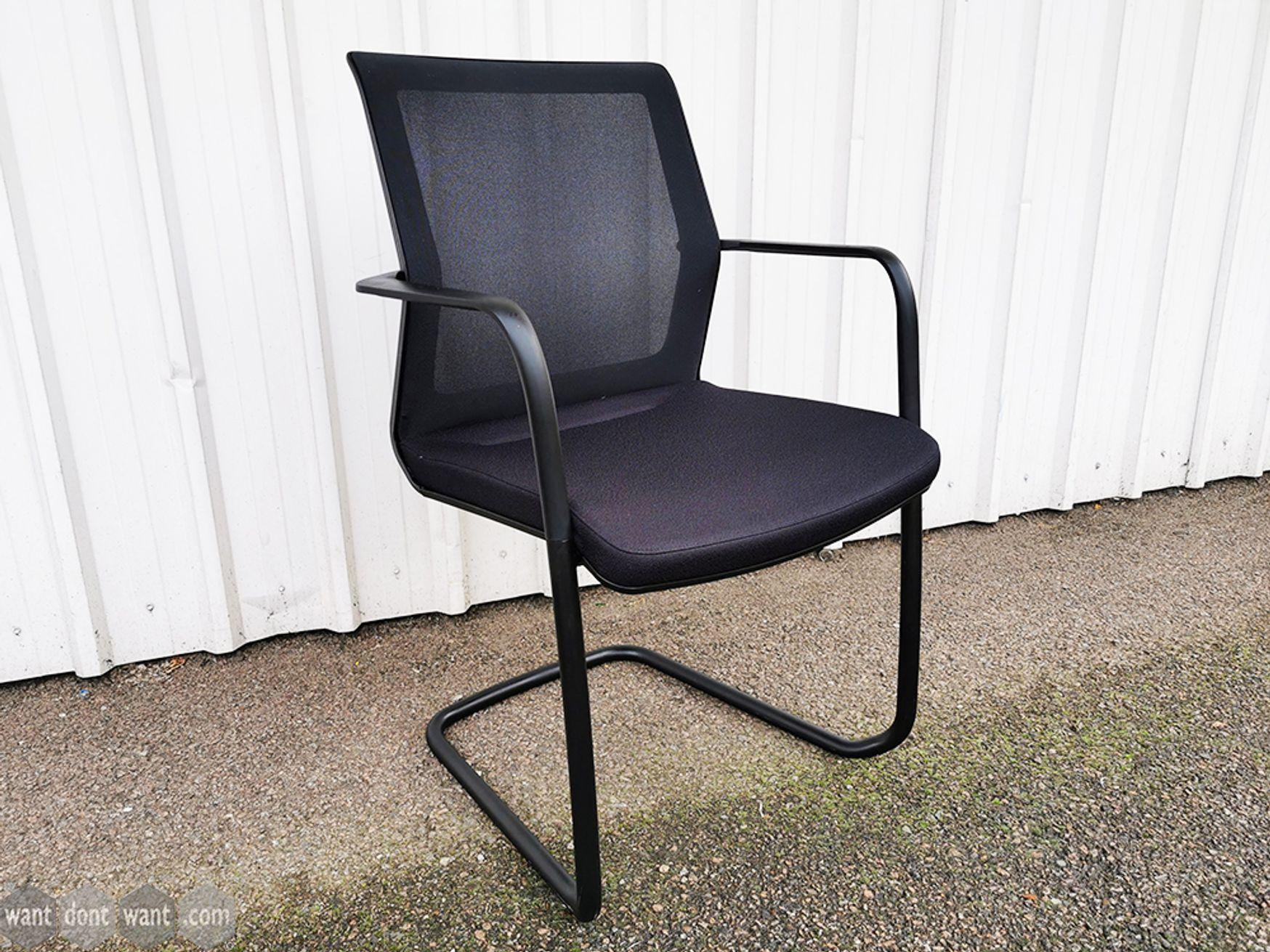 Used Orangebox 'Workday' Black Mesh Back Cantilever Boardroom Meeting Chairs